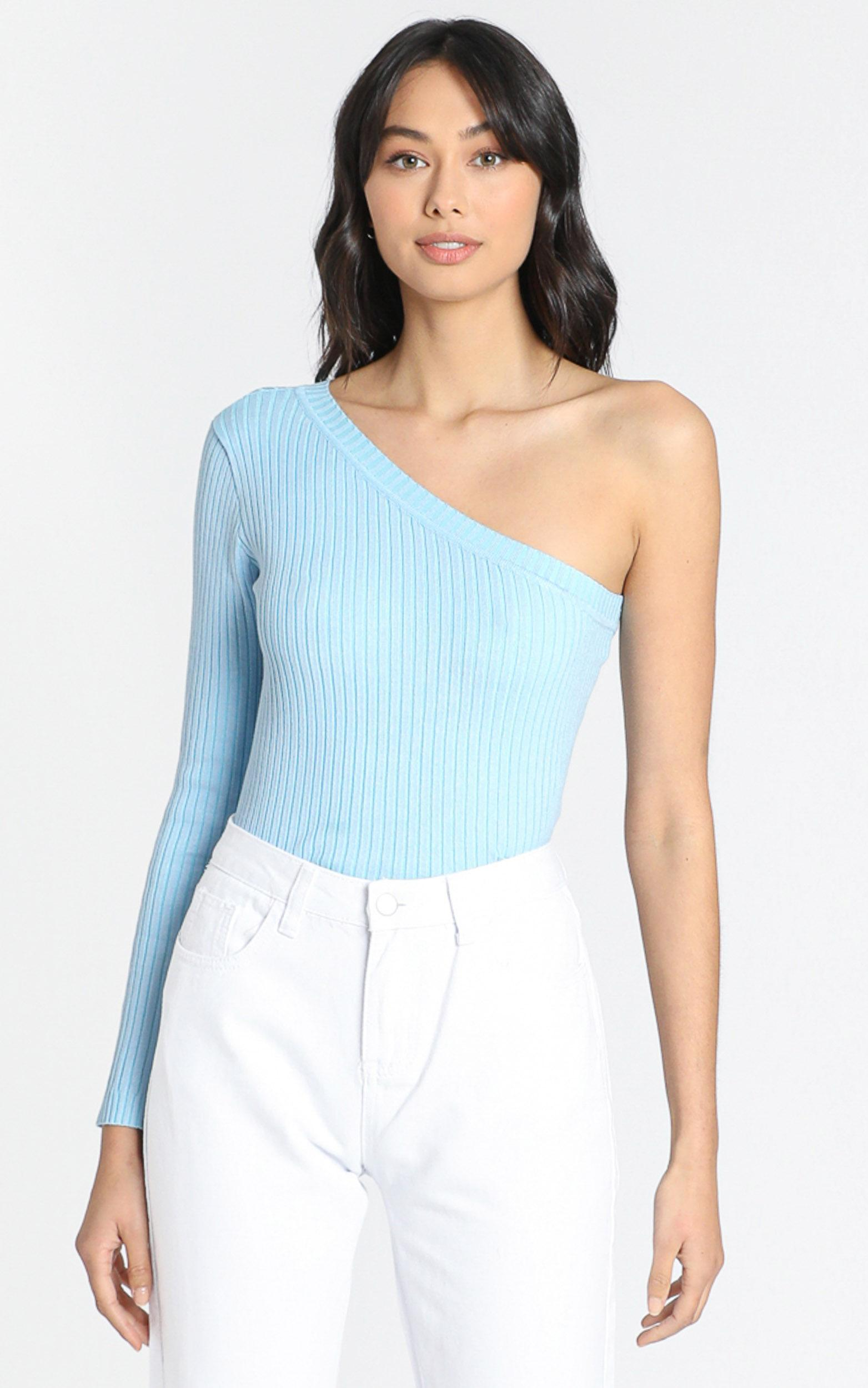 Larisa Asymetric Knit Top in Blue - S, Blue, hi-res image number null