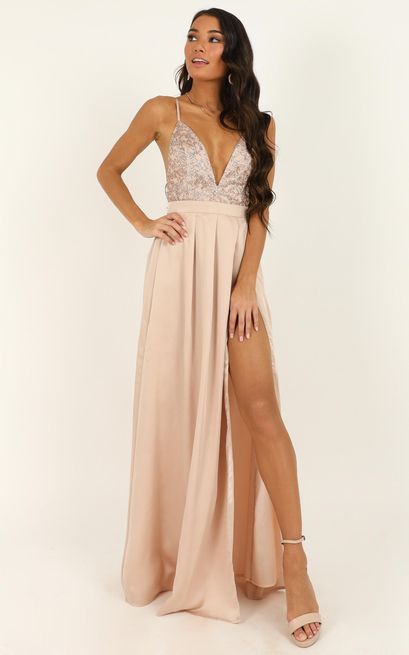Fairest Of Them All Dress in rose gold glitter - 18 (XXXL), Rose Gold, hi-res image number null