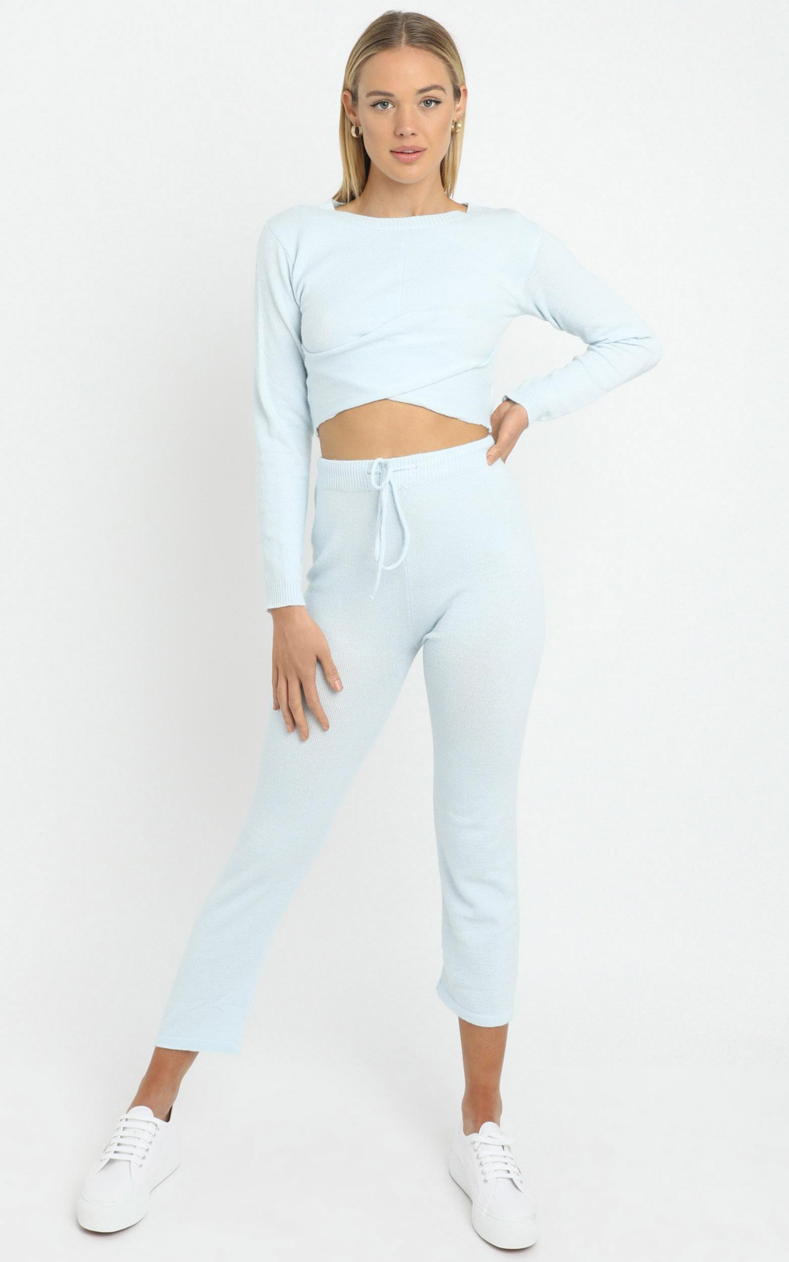 Deanna Knit Pants in Baby Blue - L, Blue, hi-res image number null