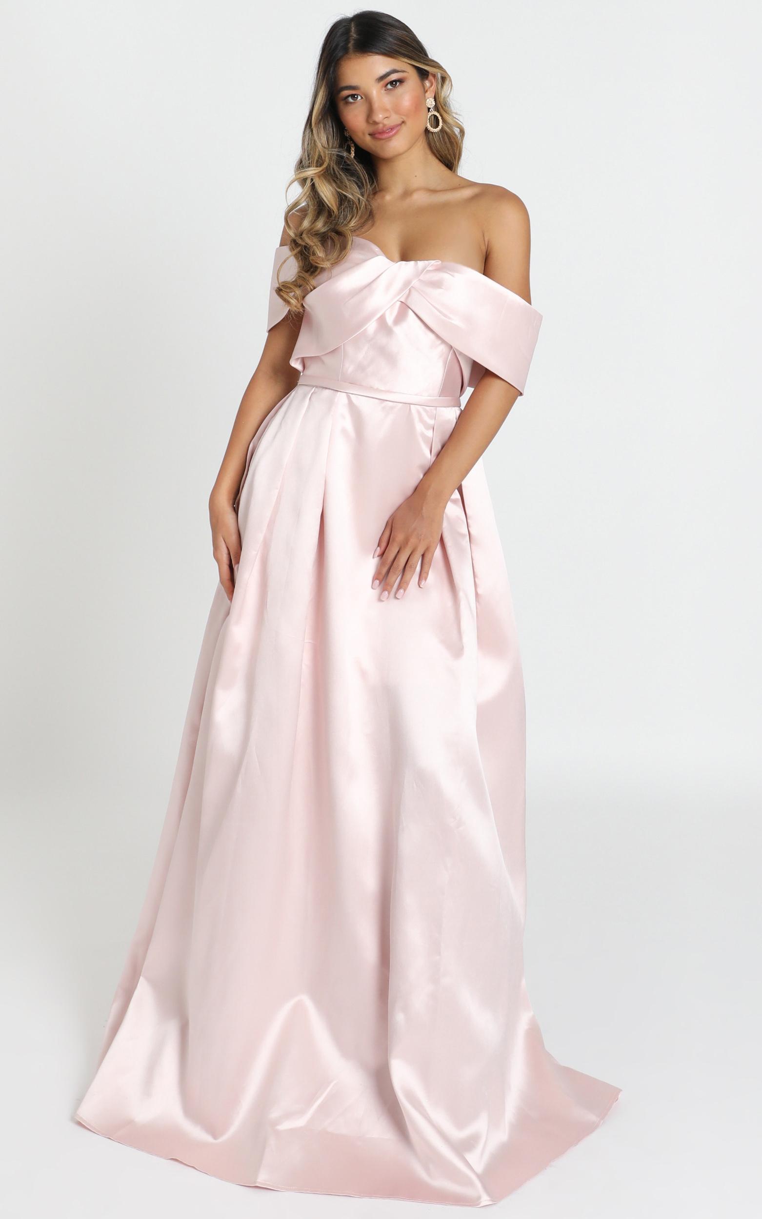 Alfreda Maxi Dress in blush satin - 8 (S), Blush, hi-res image number null