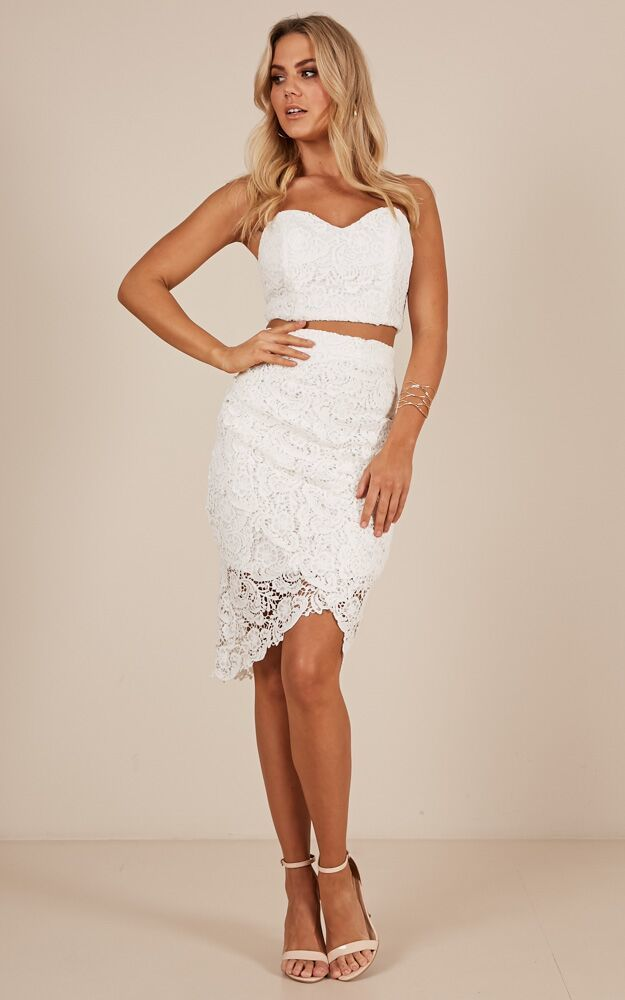 Daliah Two Piece Set in white lace - 20 (XXXXL), White, hi-res image number null