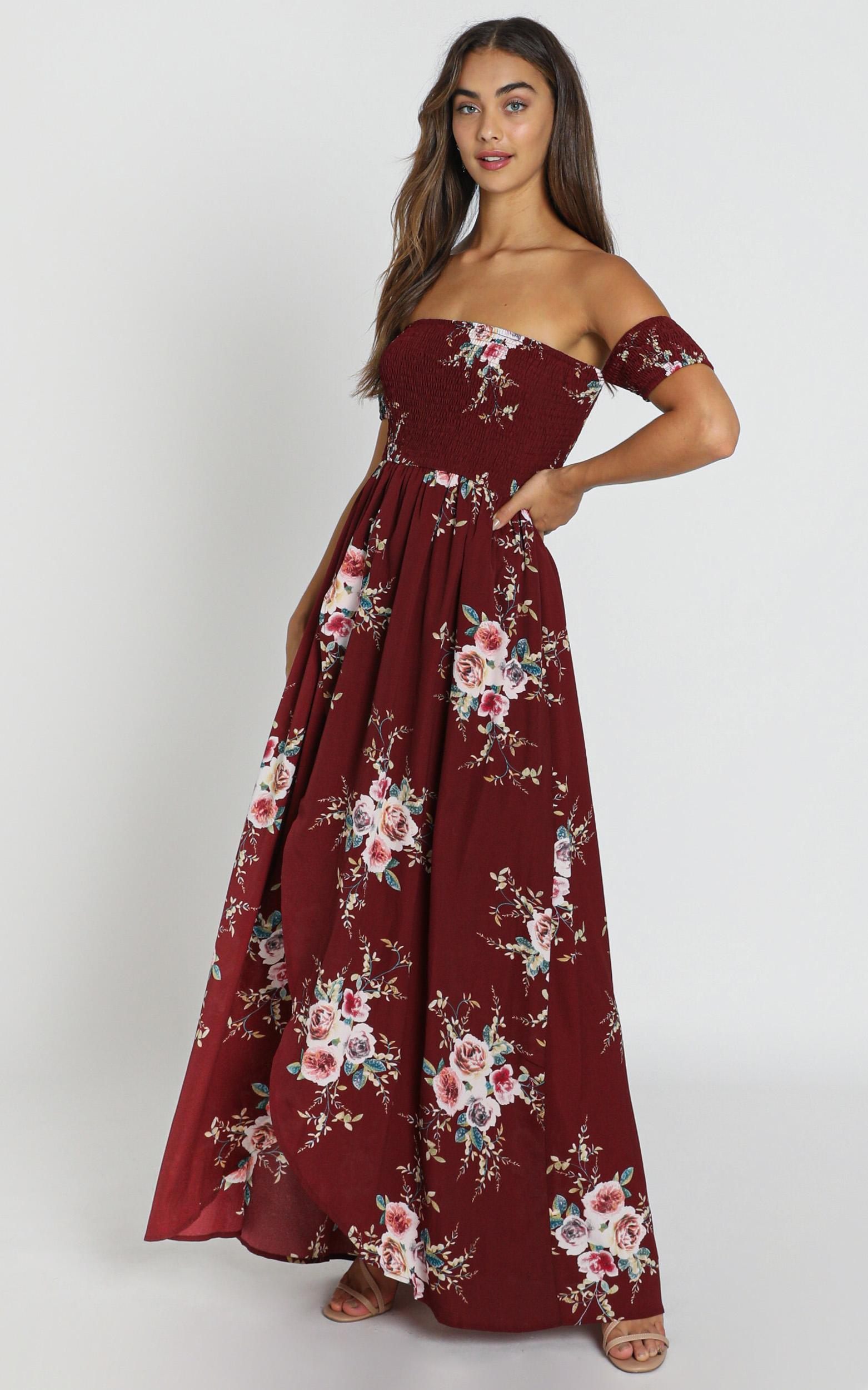 Lovestruck Maxi Dress in wine floral - 6 (XS), Wine, hi-res image number null