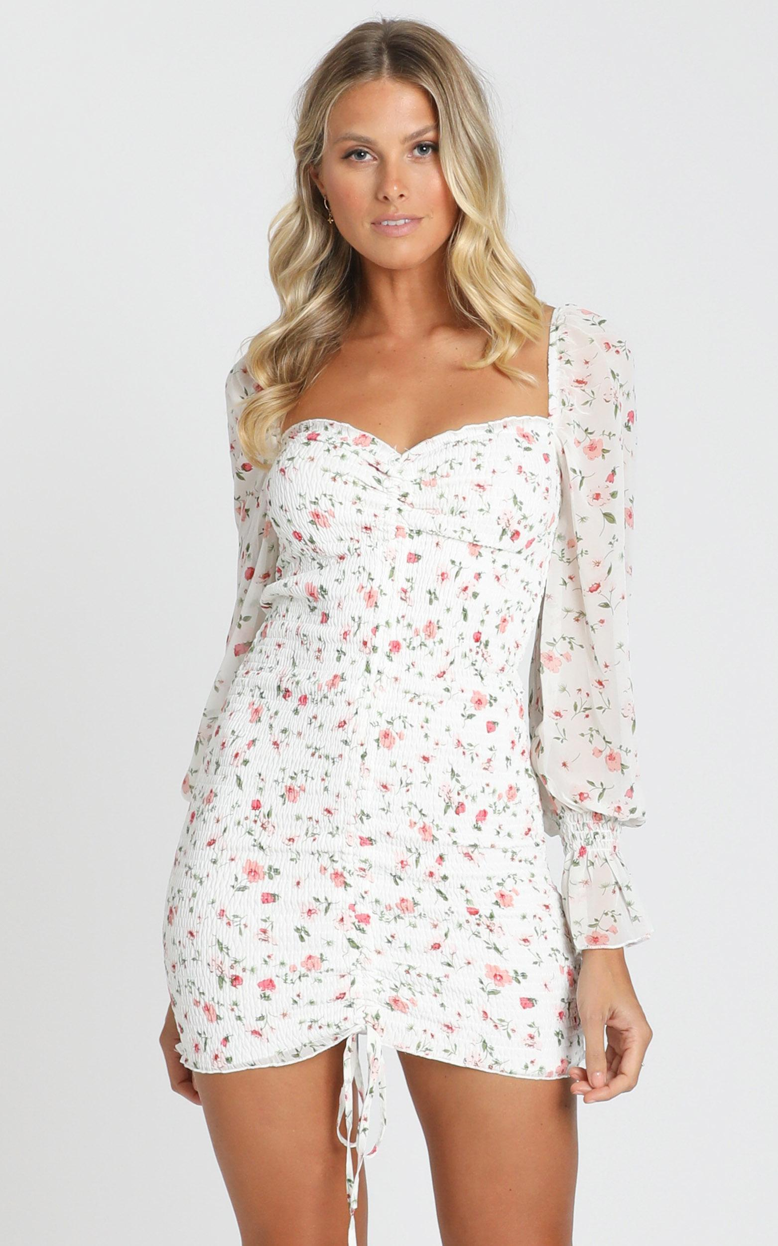 Propaganda dress in white floral - 10 (M), White, hi-res image number null