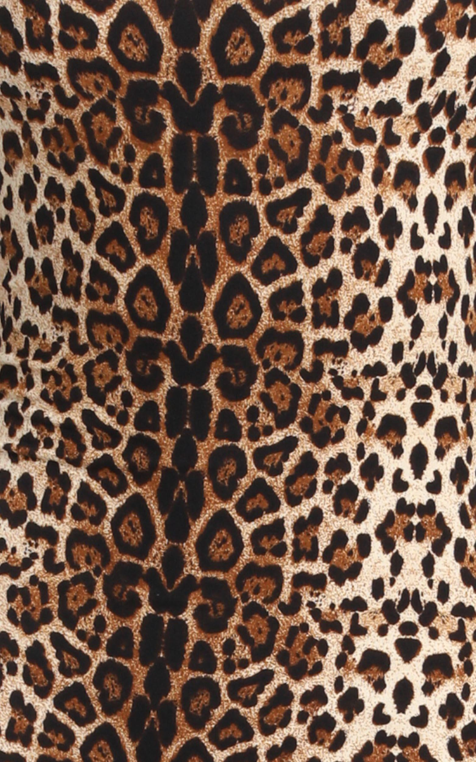 Wild Thing Bodycon Midi Dress in leopard print - 12 (L), Brown, hi-res image number null