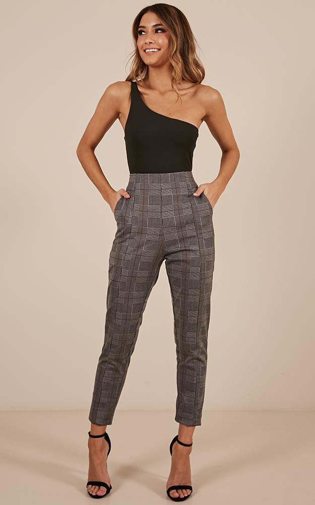 Day In Day Out pants in grey check - 14 (XL), Grey, hi-res image number null