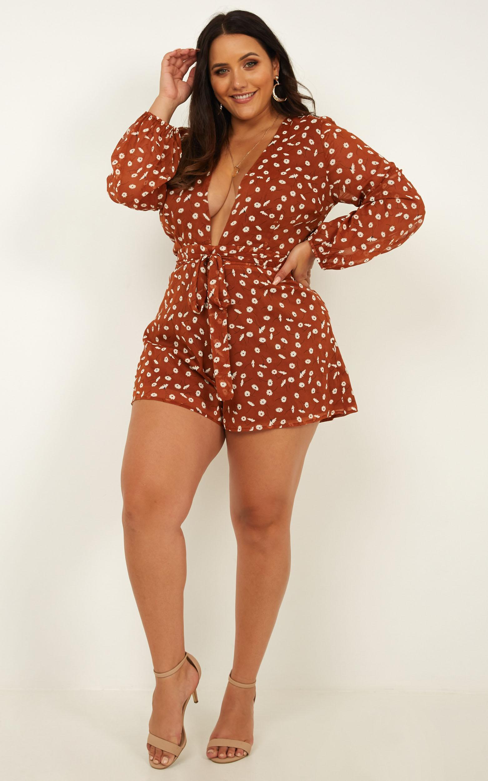 Wheels Bouncing Playsuit In rust floral - 20 (XXXXL), Rust, hi-res image number null