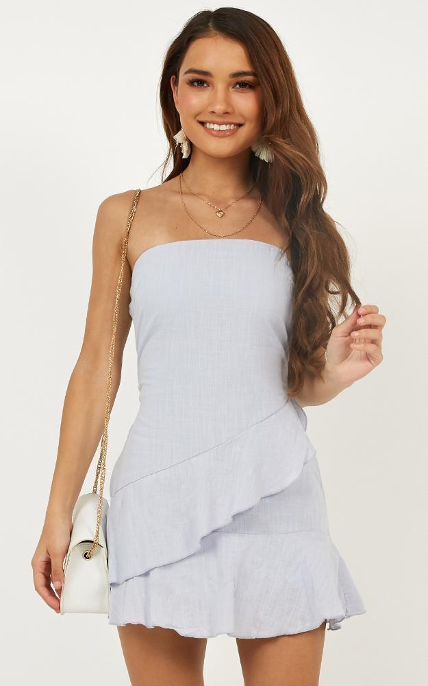 Calm Waves dress in blue linen look - 6 (XS), Blue, hi-res image number null