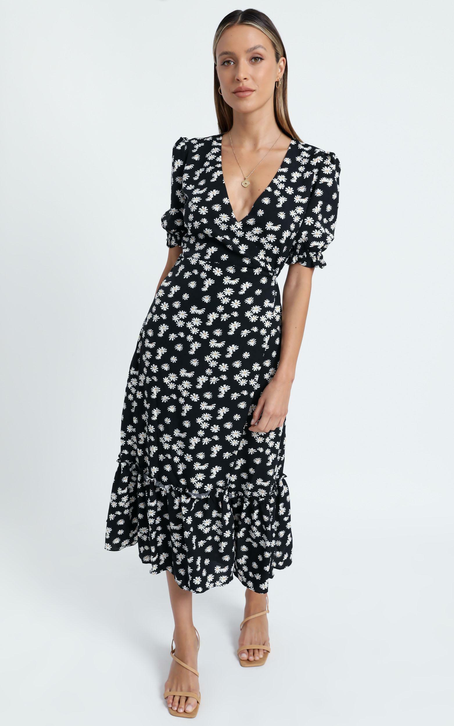 Washington Dress in Black Floral - 6 (XS), Black, hi-res image number null