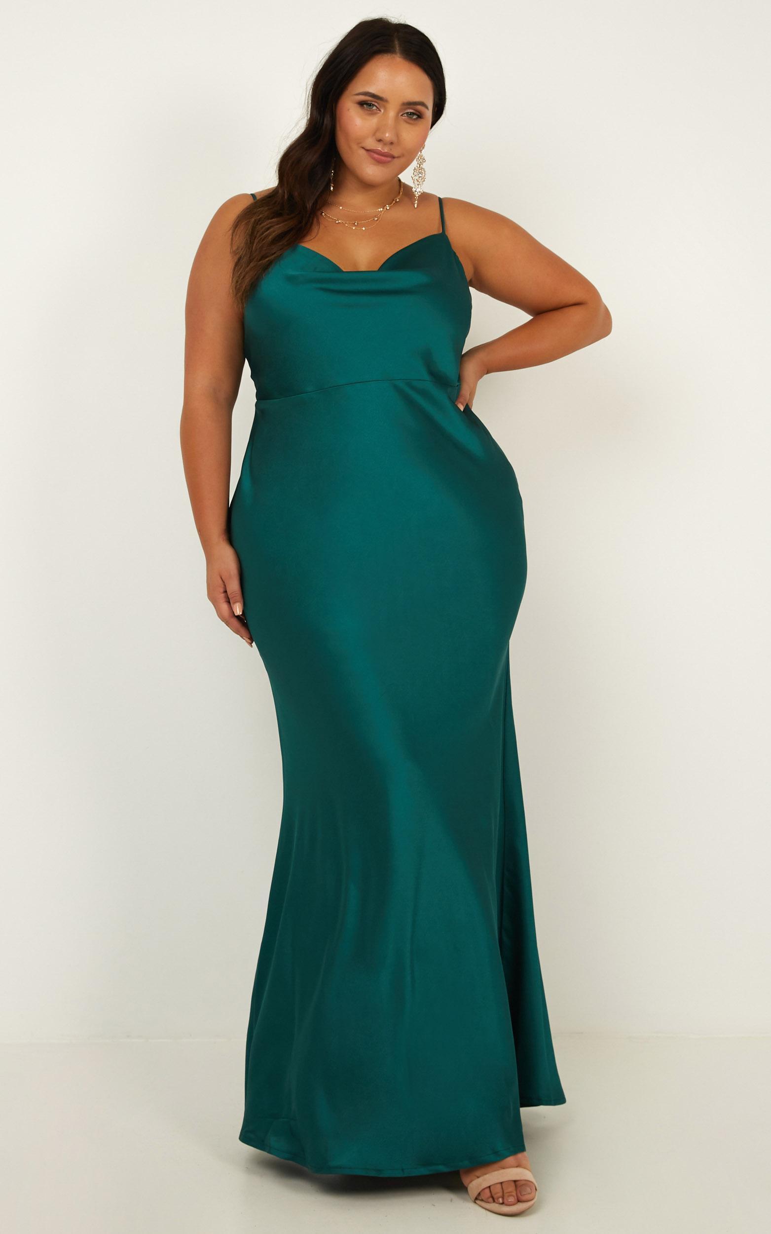 Run Deep Dress in emerald satin - 20 (XXXXL), Green, hi-res image number null