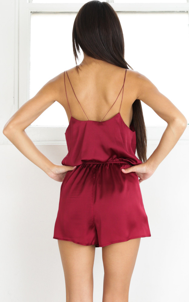 Clap Your Hands playsuit in wine - 6 (XS), Wine, hi-res image number null