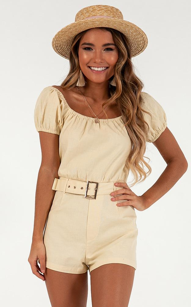 Next Round playsuit in natural linen look, Beige, hi-res image number null