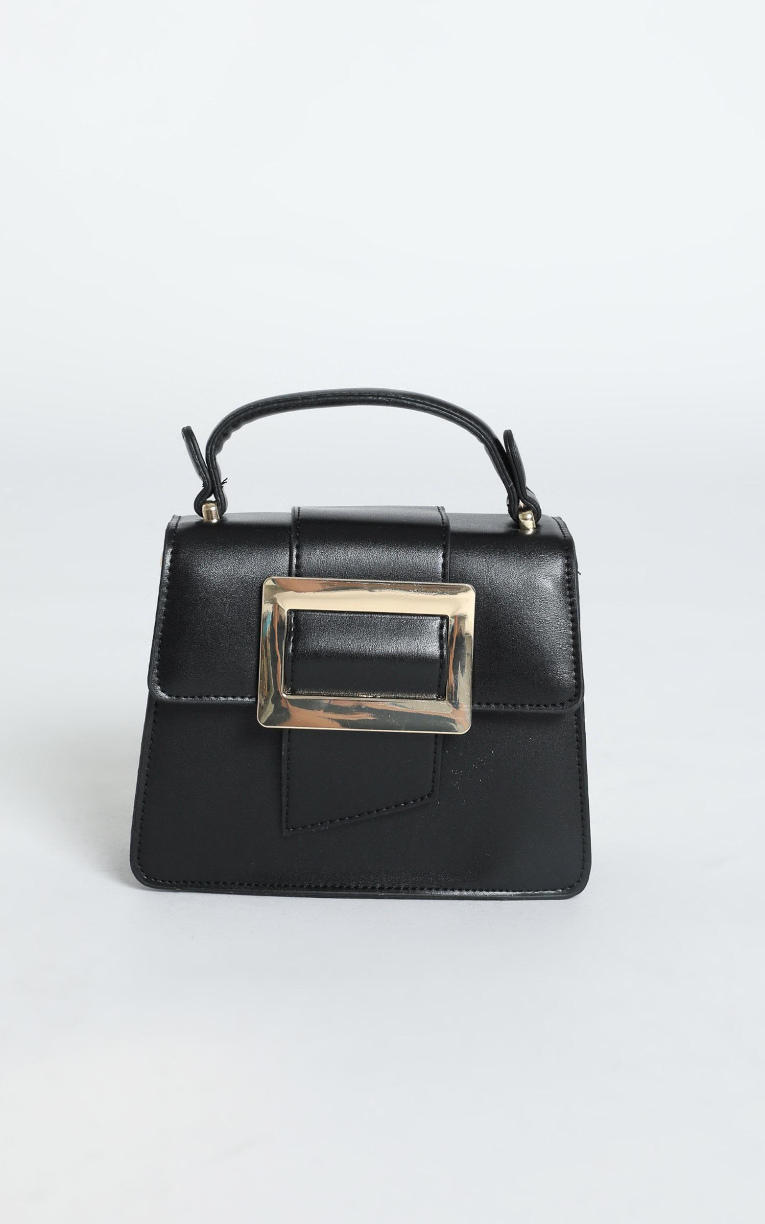 In Time Buckle Sling Bag in Black and Gold, , hi-res image number null