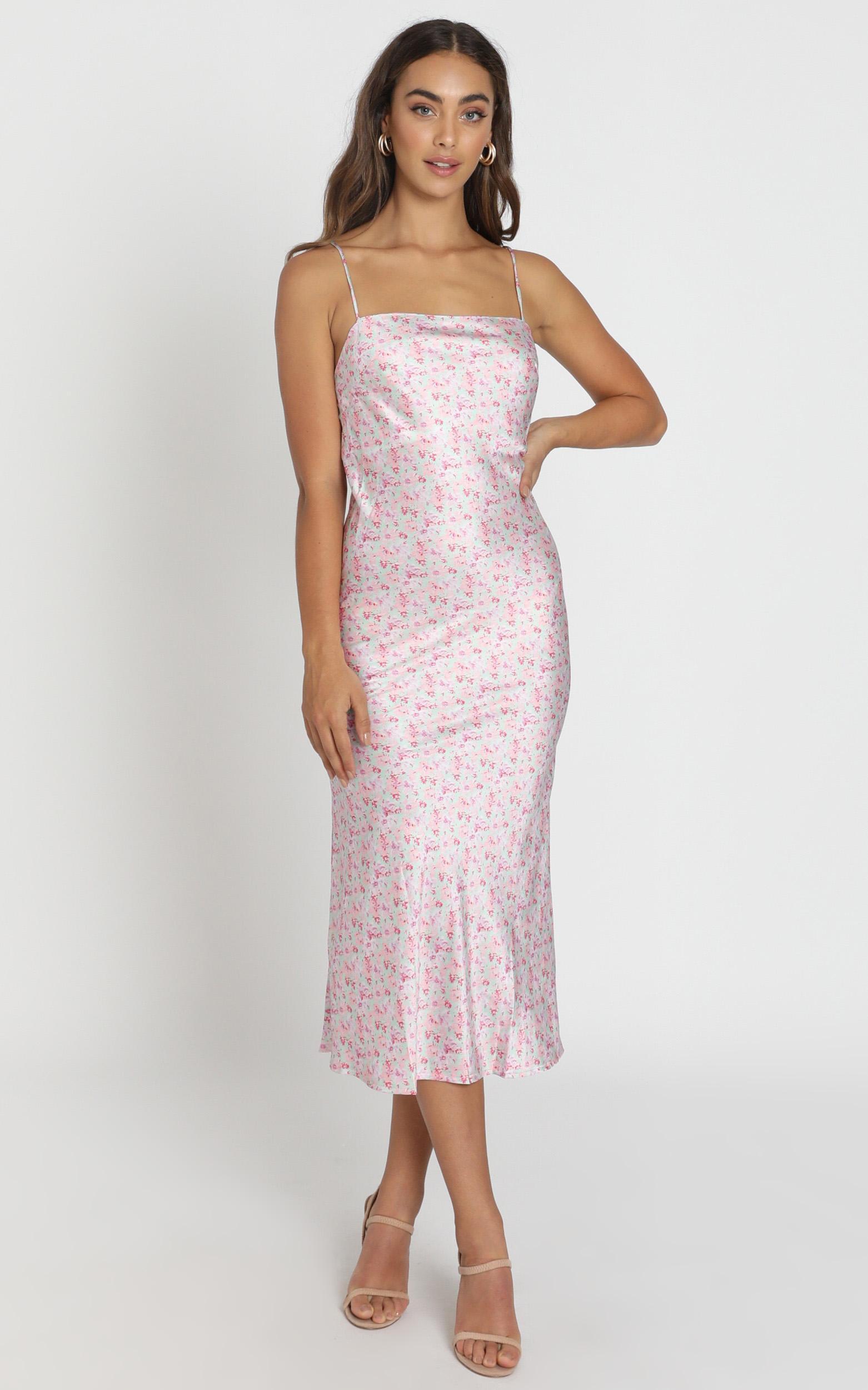 Regina Satin Slip Dress in pink floral - 6 (XS), PNK1, hi-res image number null