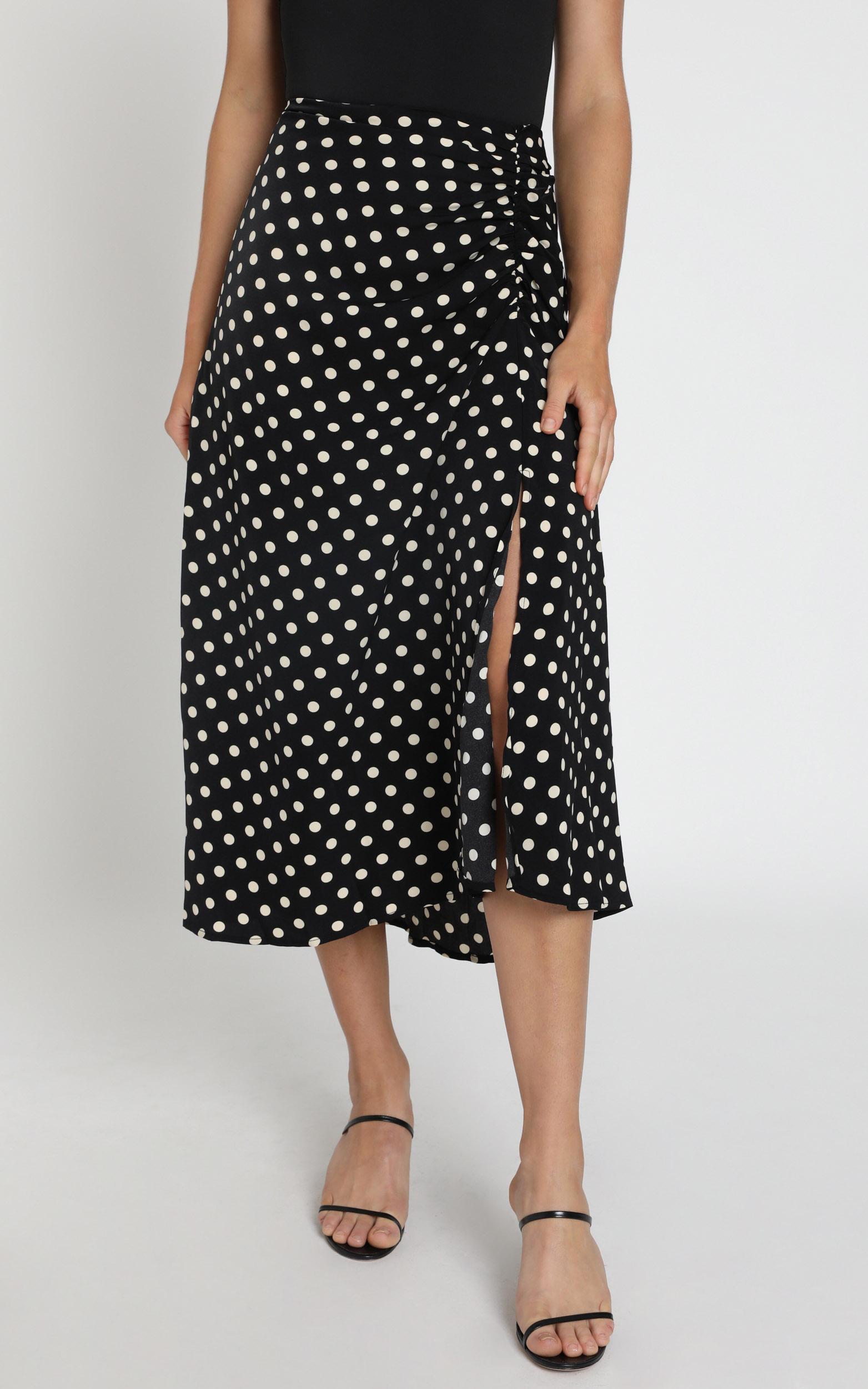 Kayleigh Skirt in black spot - 6 (XS), Black, hi-res image number null