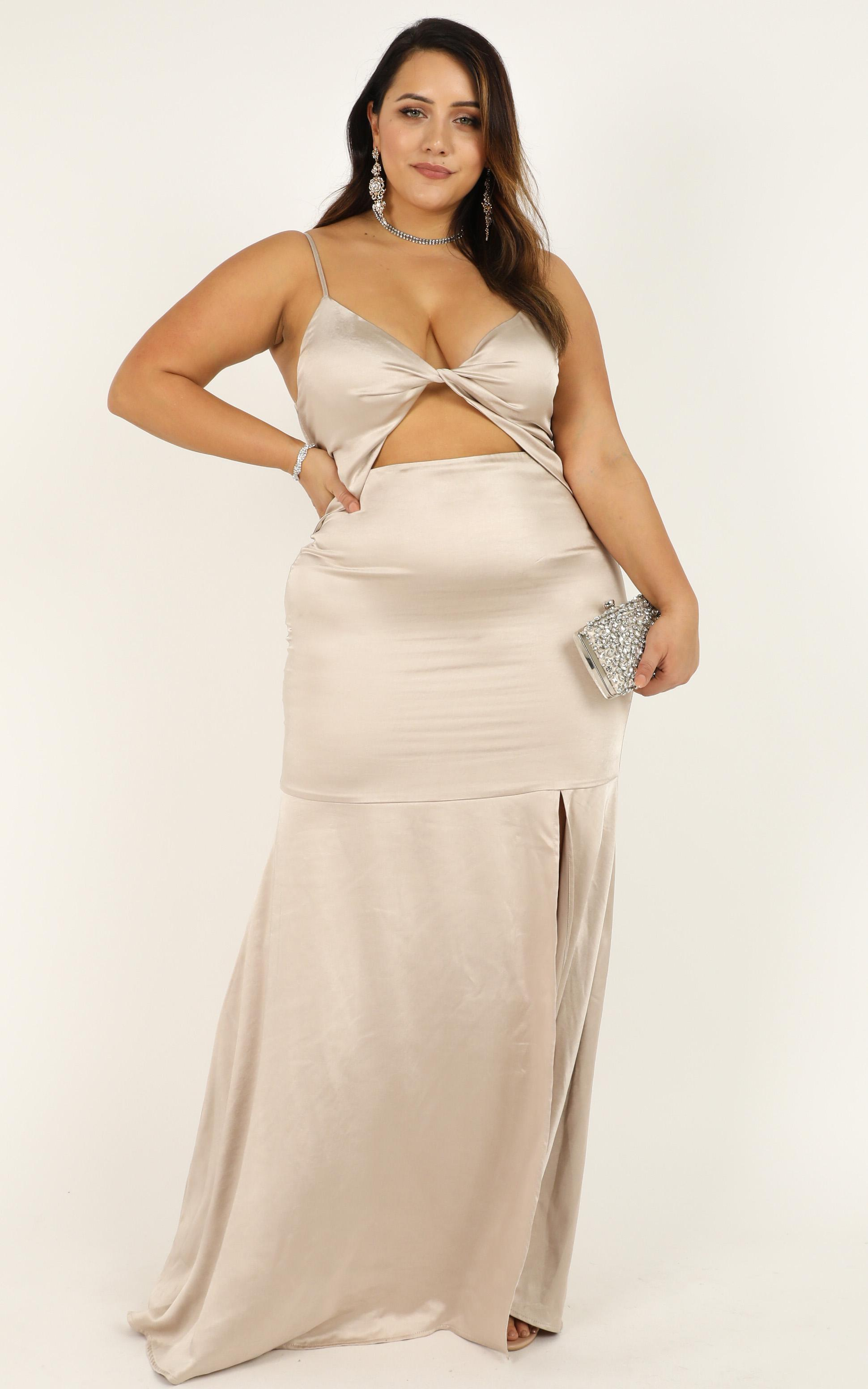 How Sweet It Is To Love Someone Dress in champagne satin - 20 (XXXXL), Beige, hi-res image number null