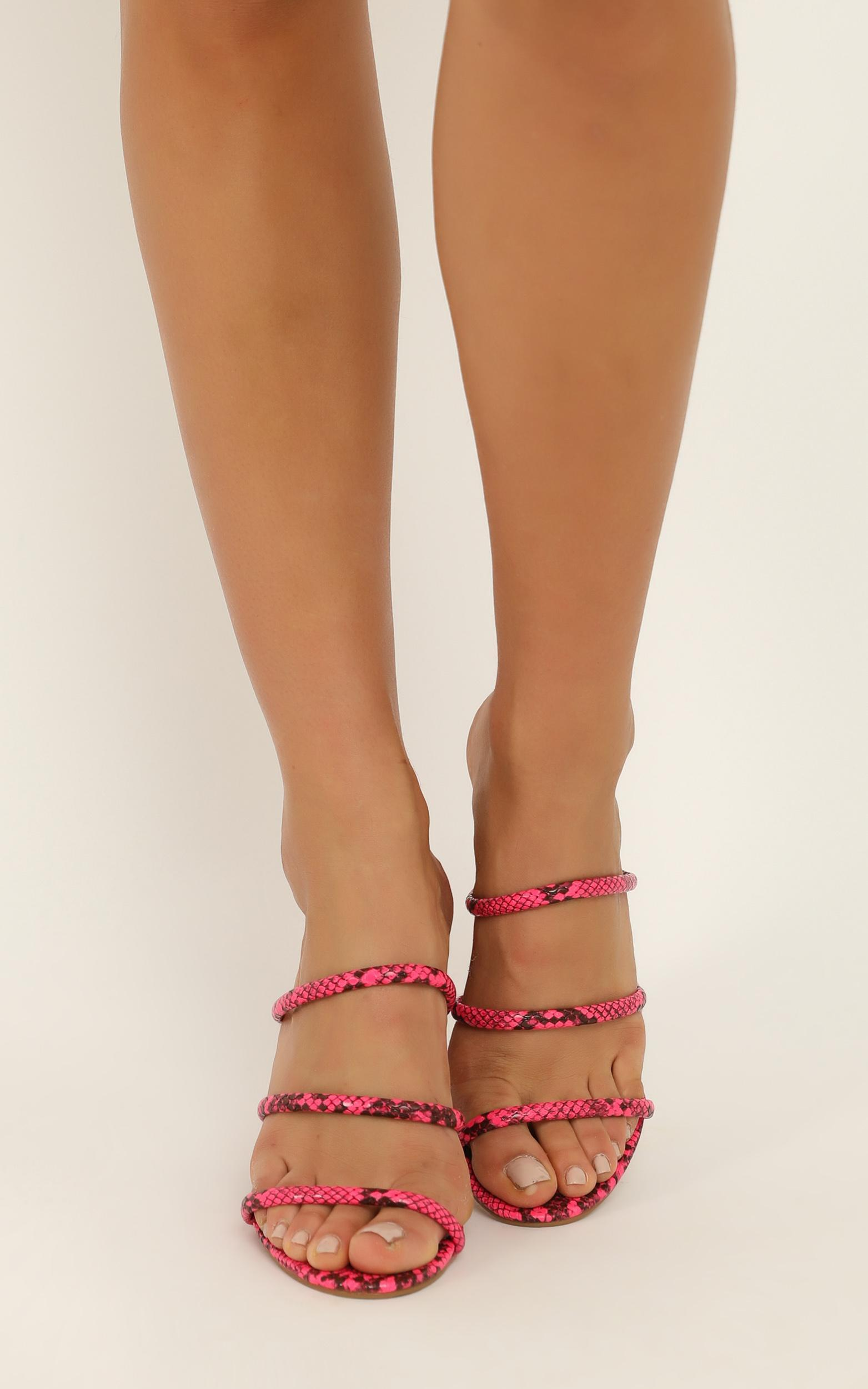 Billini - Elida Heels in neon pink snake - 9, Pink, hi-res image number null
