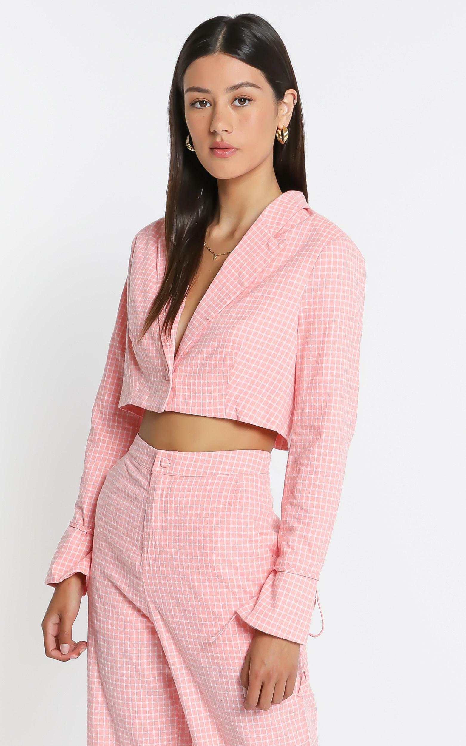 Maude  Blazer in  Pink Check - 6 (XS), PNK1, hi-res image number null