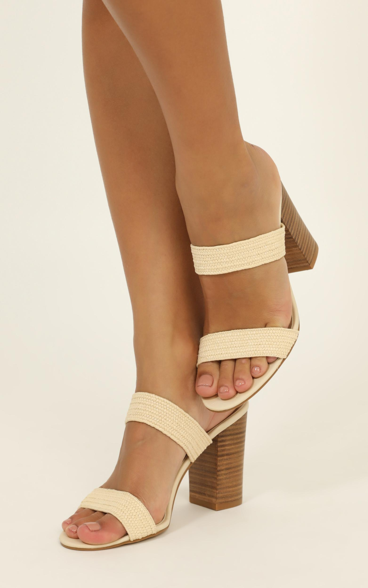 Billini - Nora Heels in natural stretch woven - 10, Beige, hi-res image number null