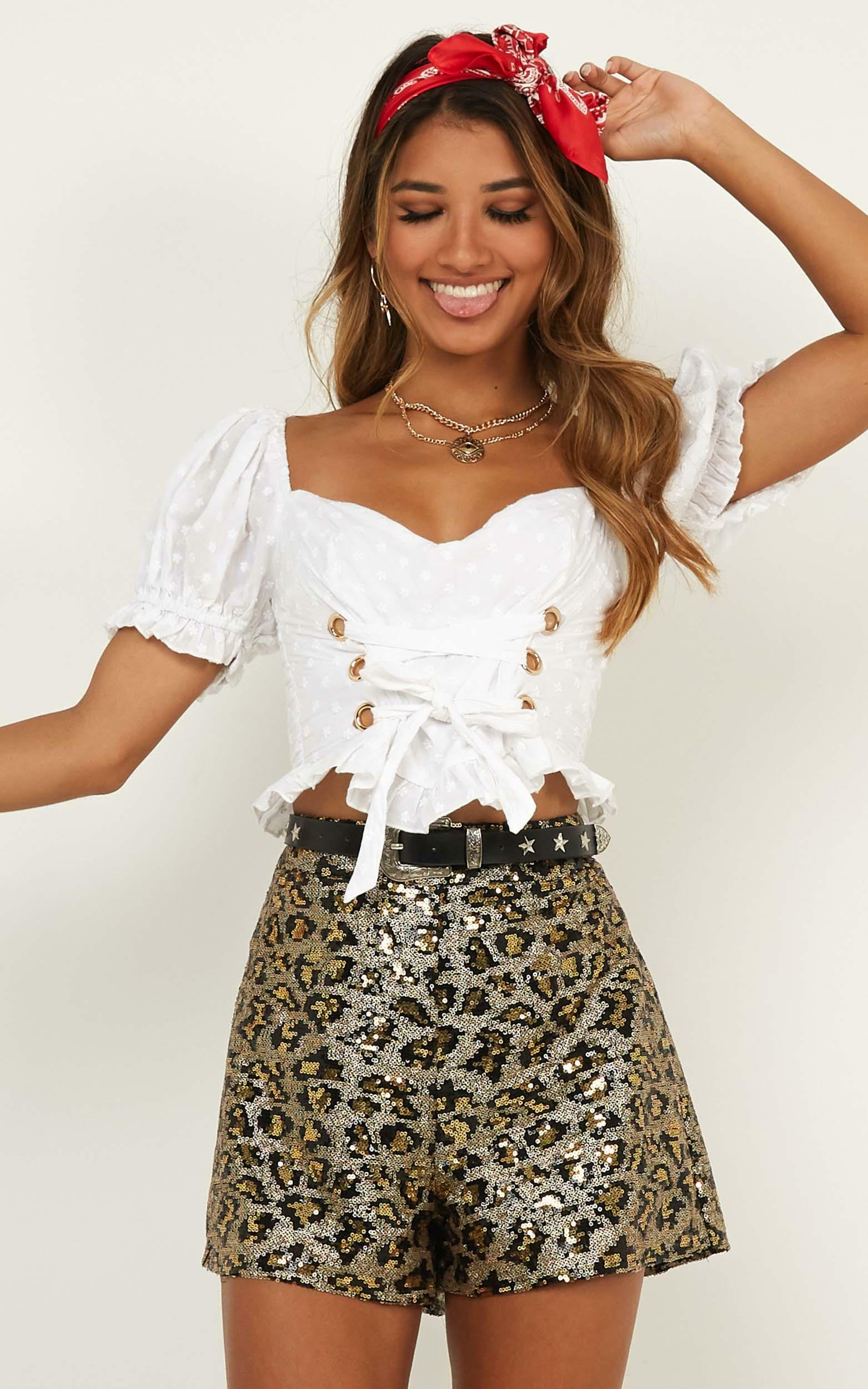 Made In Miami Shorts in leopard sequin - 12 (L), Brown, hi-res image number null