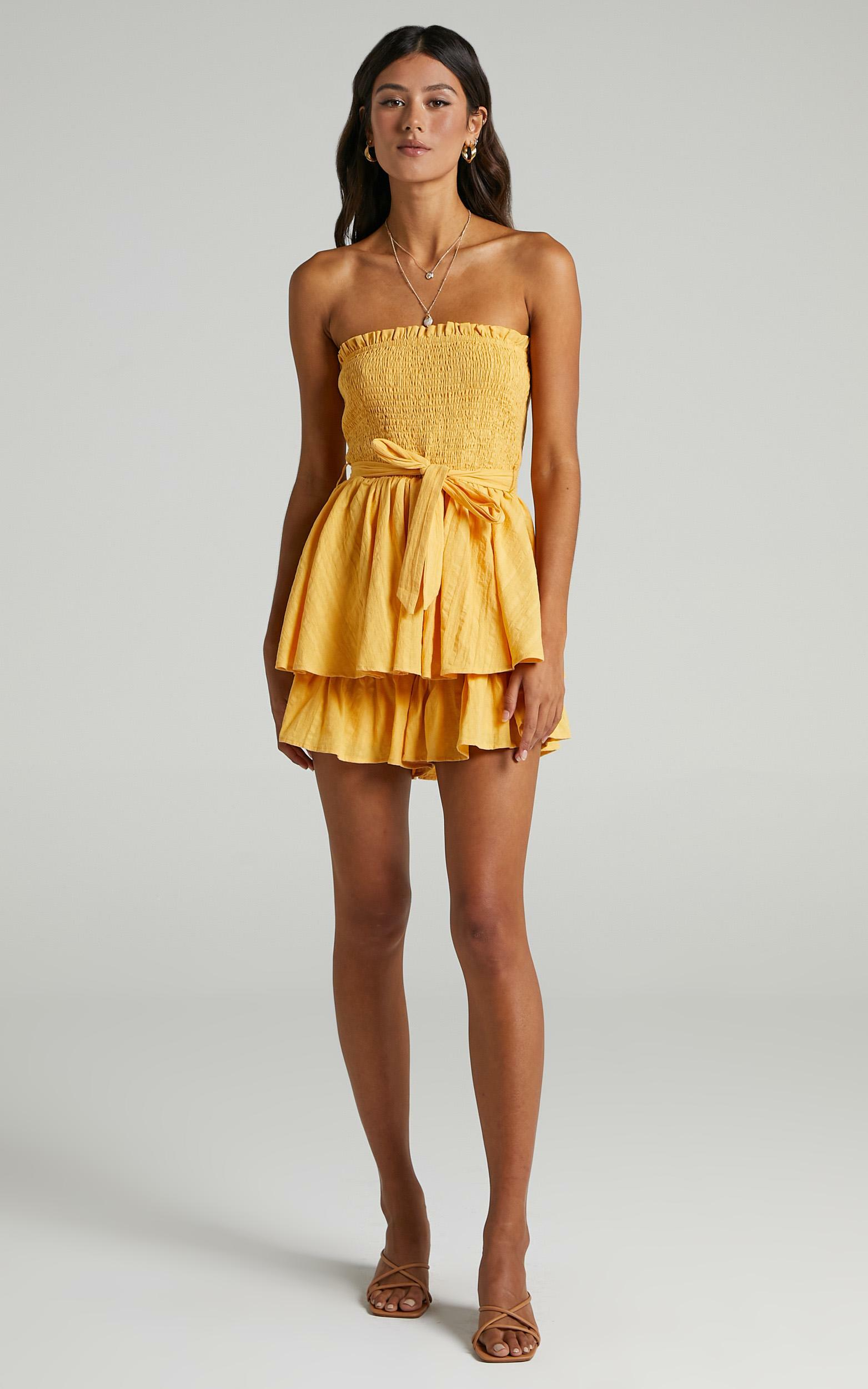 Mutual Love Playsuit in Mustard - 6 (XS), Mustard, hi-res image number null