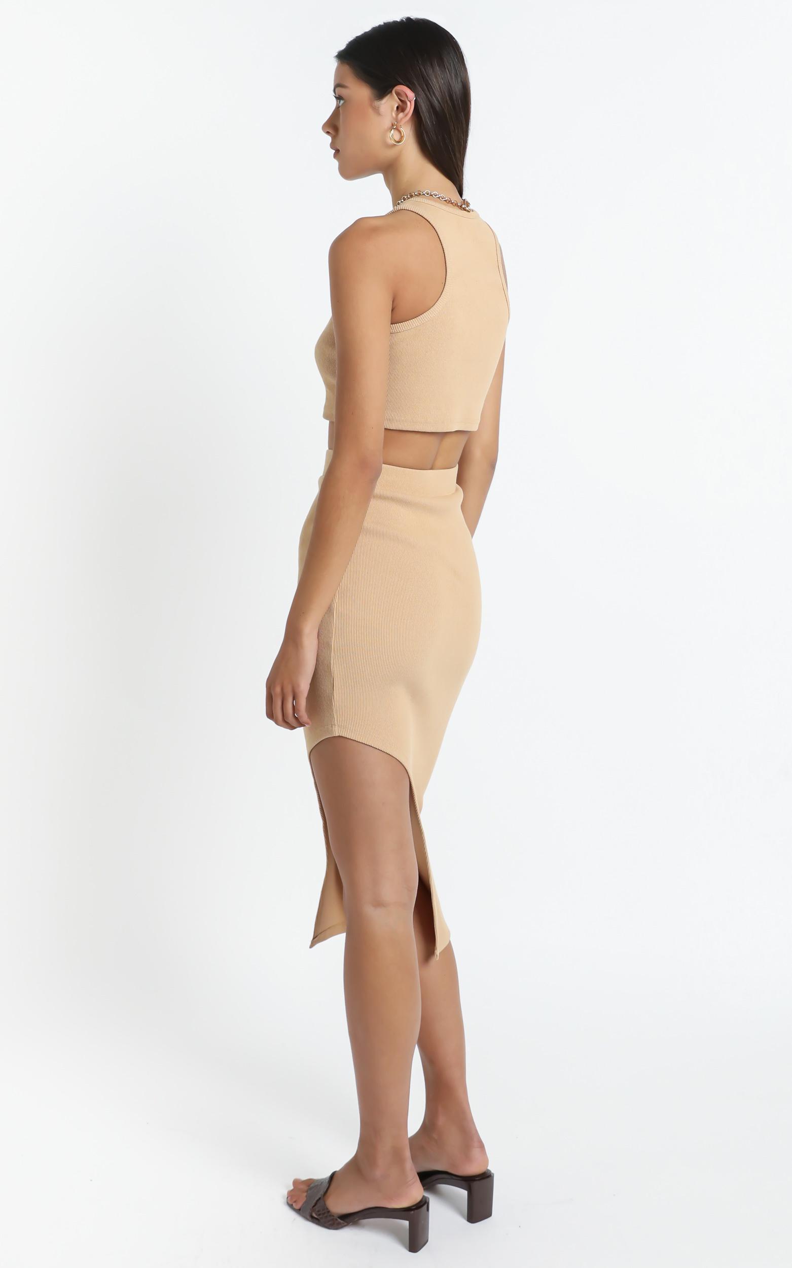 Letina Midi Skirt in Beige Rib - 14 (XL), Cream, hi-res image number null