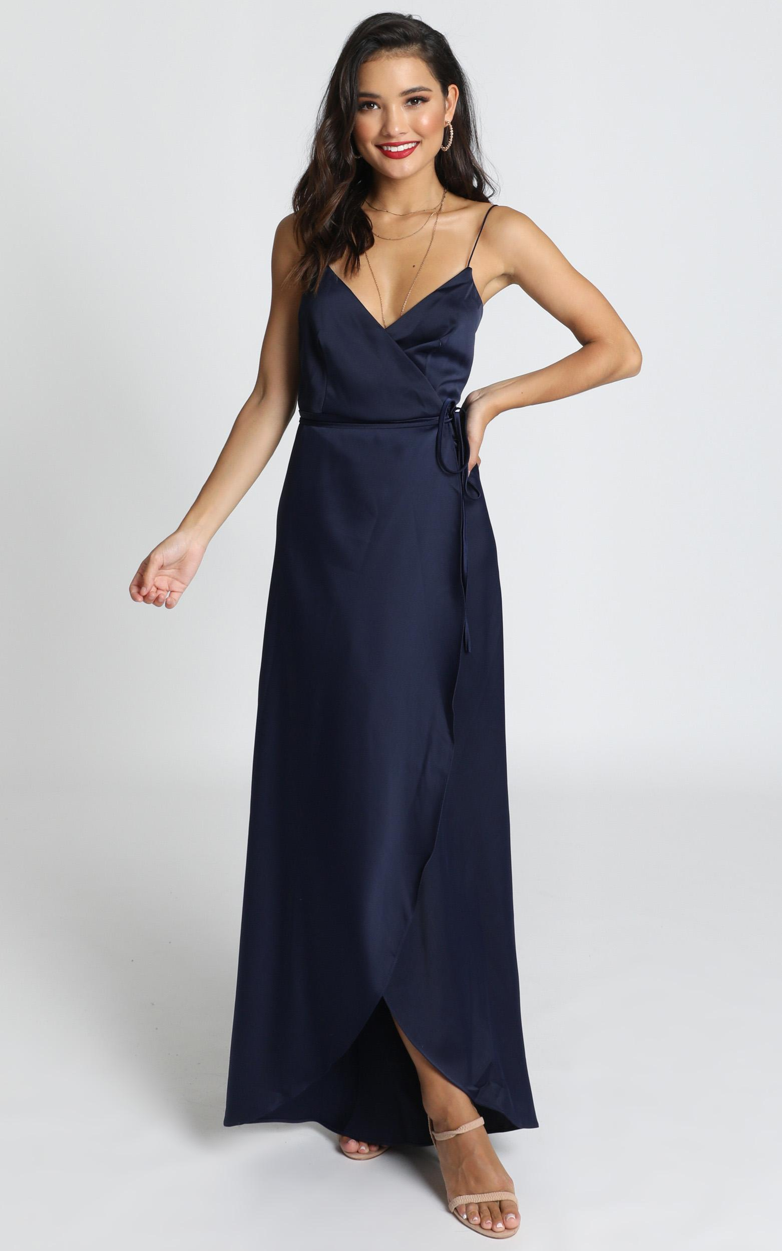 Mine Would Be You Dress in navy satin - 20 (XXXXL), Navy, hi-res image number null