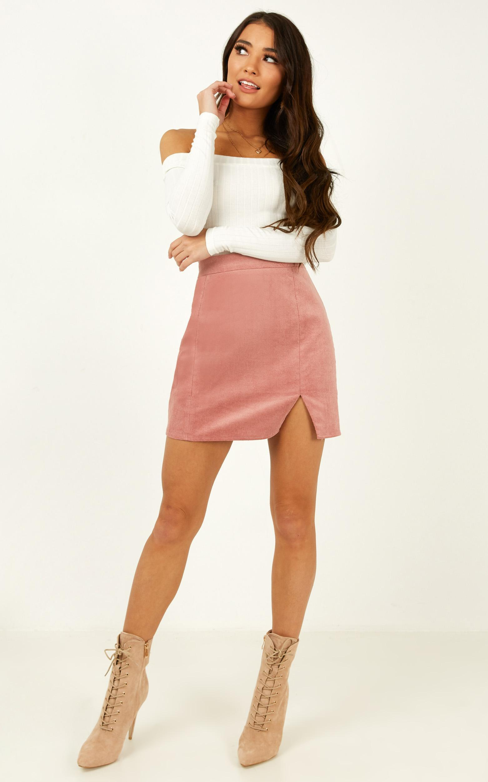 The Smiths Skirt in blush cord - 20 (XXXXL), Blush, hi-res image number null