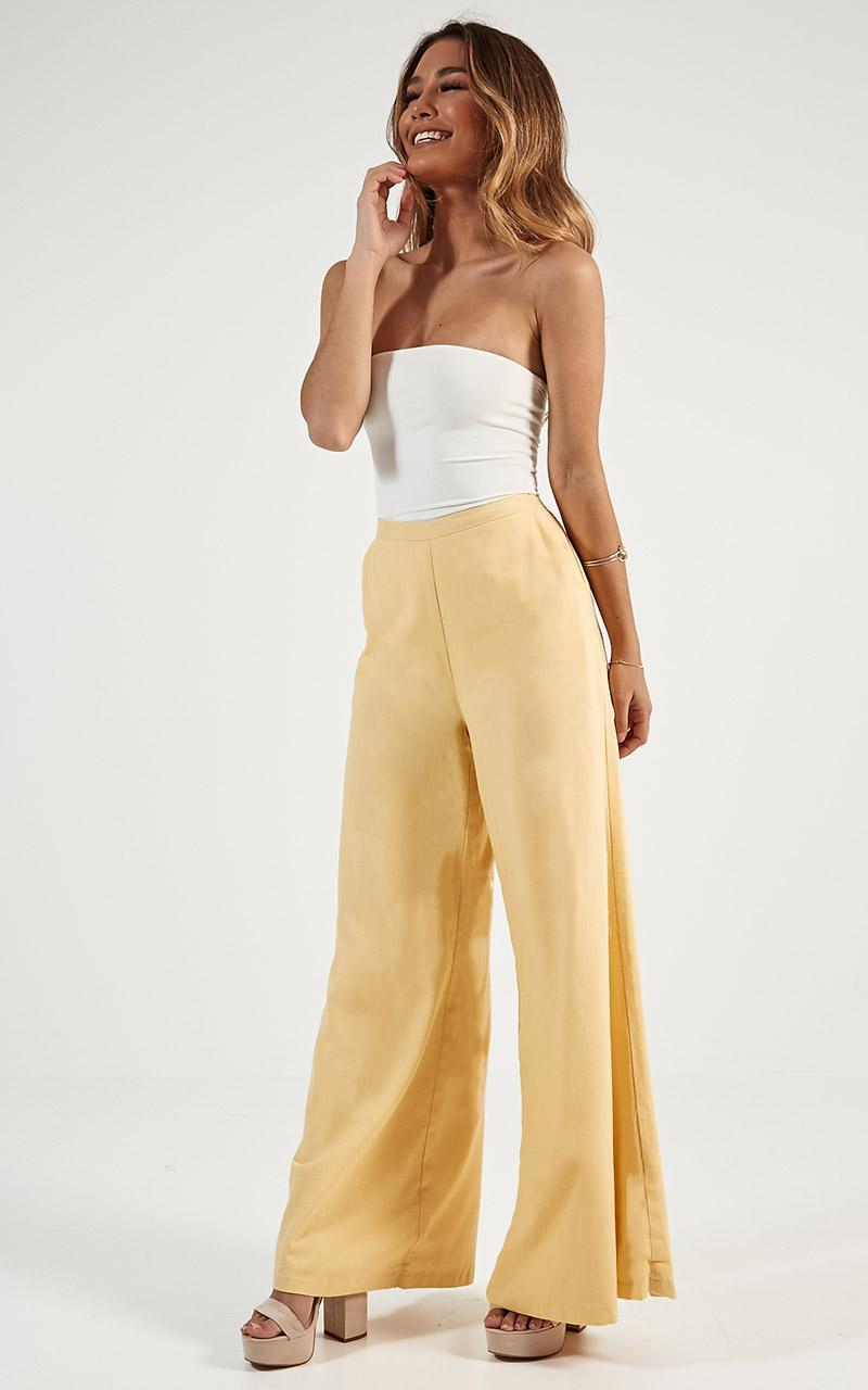 Midnight Daydream Pants in lemon linen look - 12 (L), Yellow, hi-res image number null
