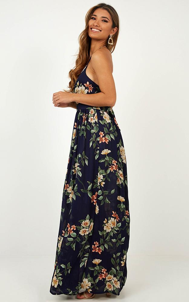 Imagine This Maxi Dress in navy tropical - 12 (L), Navy, hi-res image number null