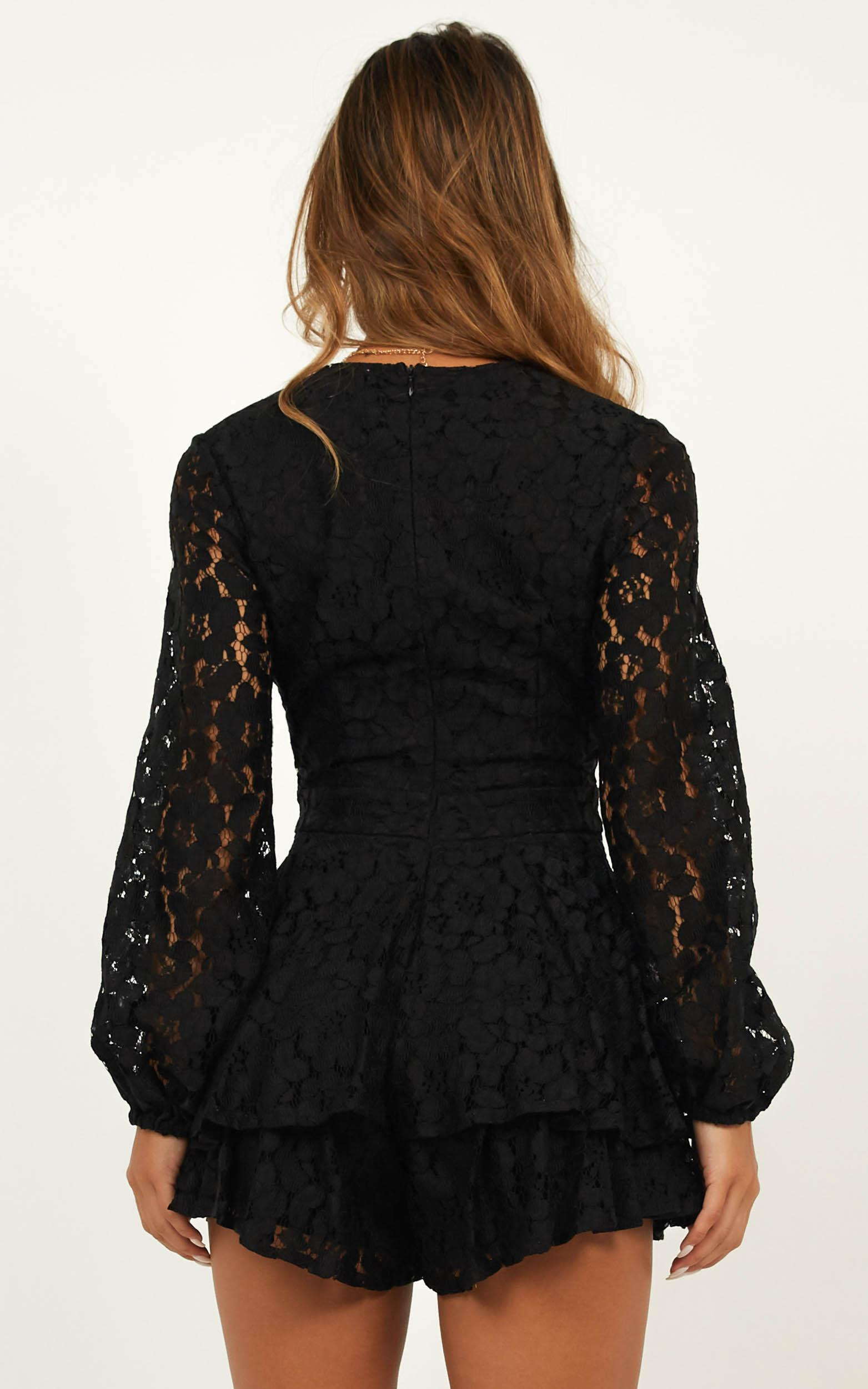 Communal Love Playsuit in black lace - 20 (XXXXL), Black, hi-res image number null