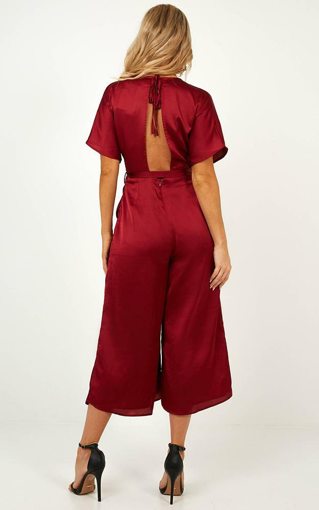 Starting The Night Jumpsuit in wine satin - 12 (L), Wine, hi-res image number null