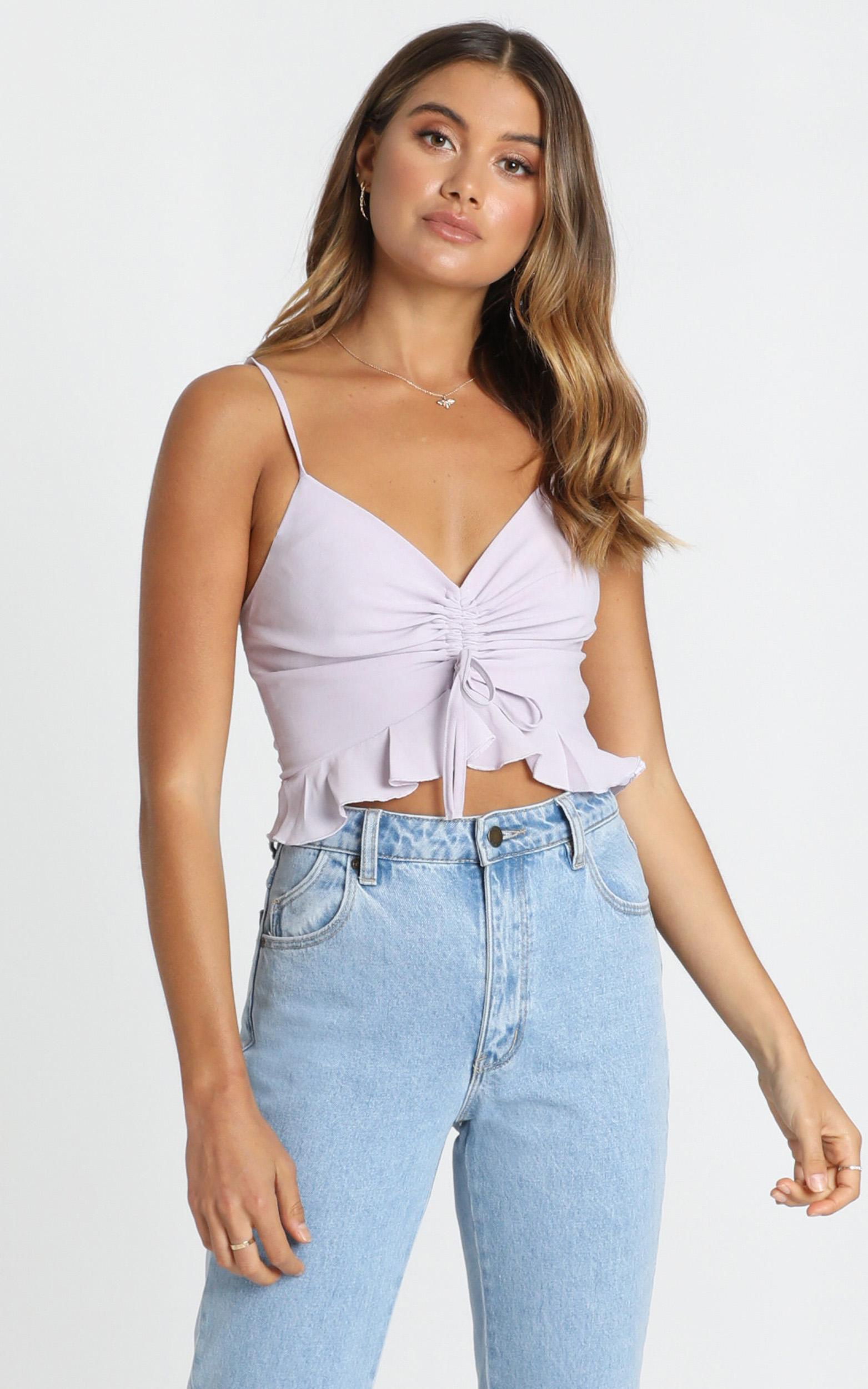 Selena Ruched Front Cami in lilac - 12 (L), Purple, hi-res image number null