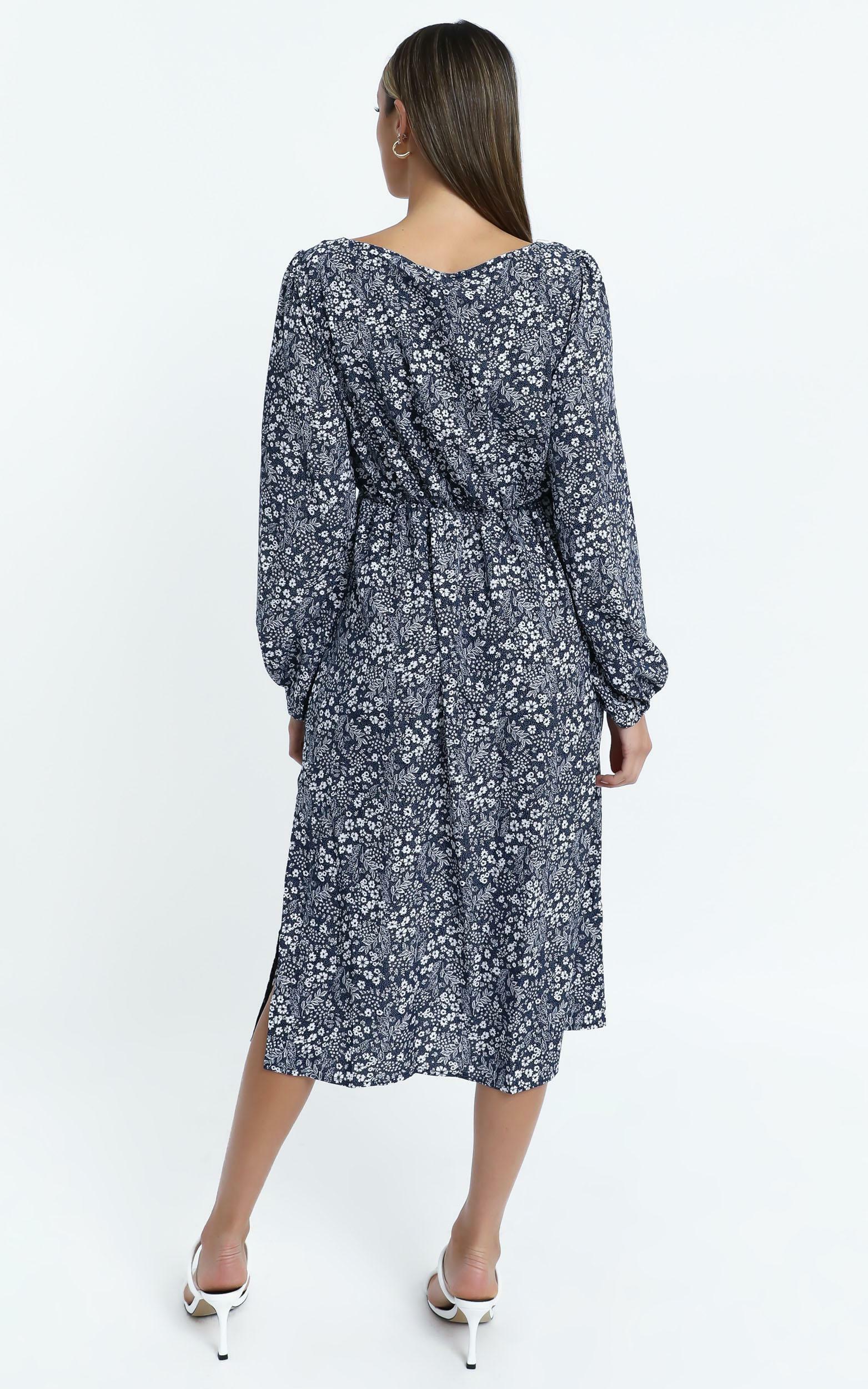 Amare Dress in Navy Floral - 14 (XL), NVY1, hi-res image number null