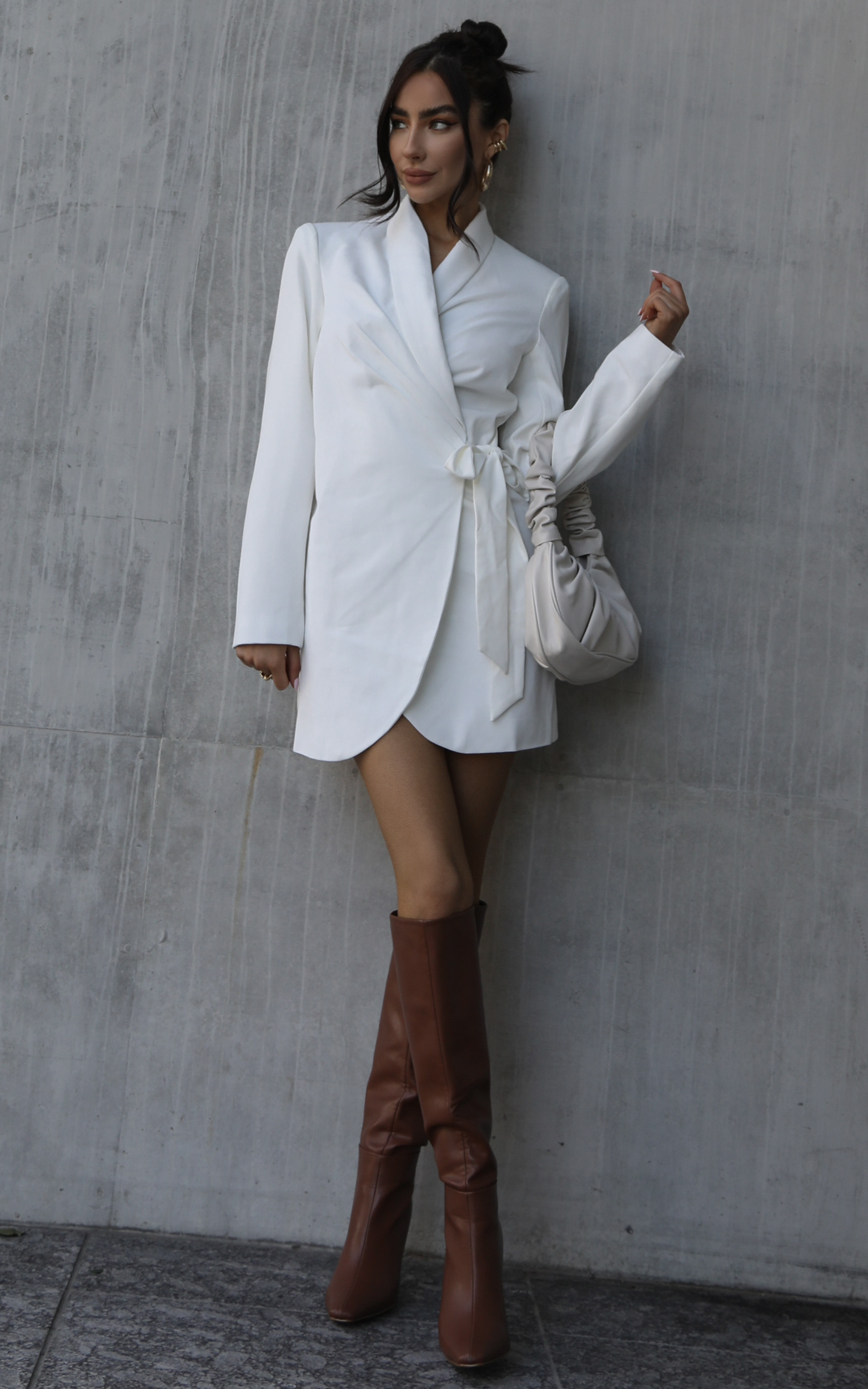 Rosia Wrap Style Blazer Dress in White - 04, WHT2, hi-res image number null