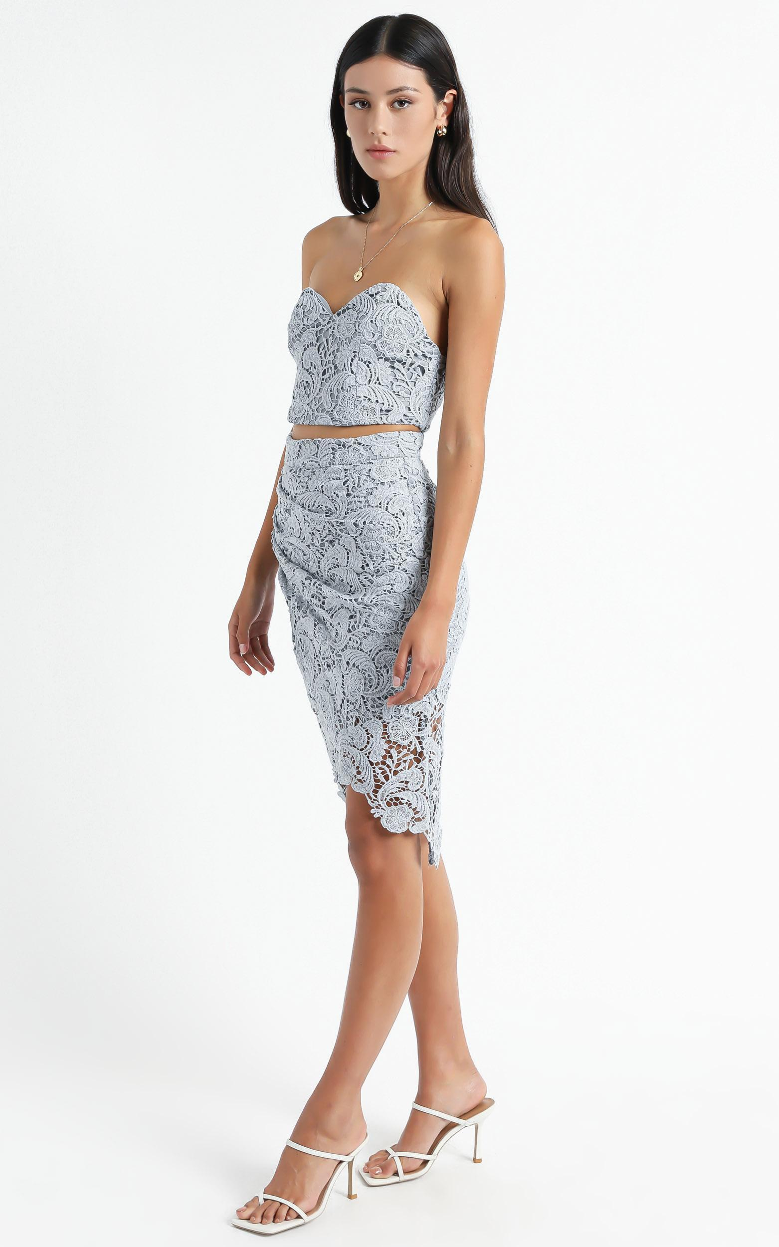Daliah Two Piece Set In Dusty Blue Lace  - 16 (XXL), Blue, hi-res image number null