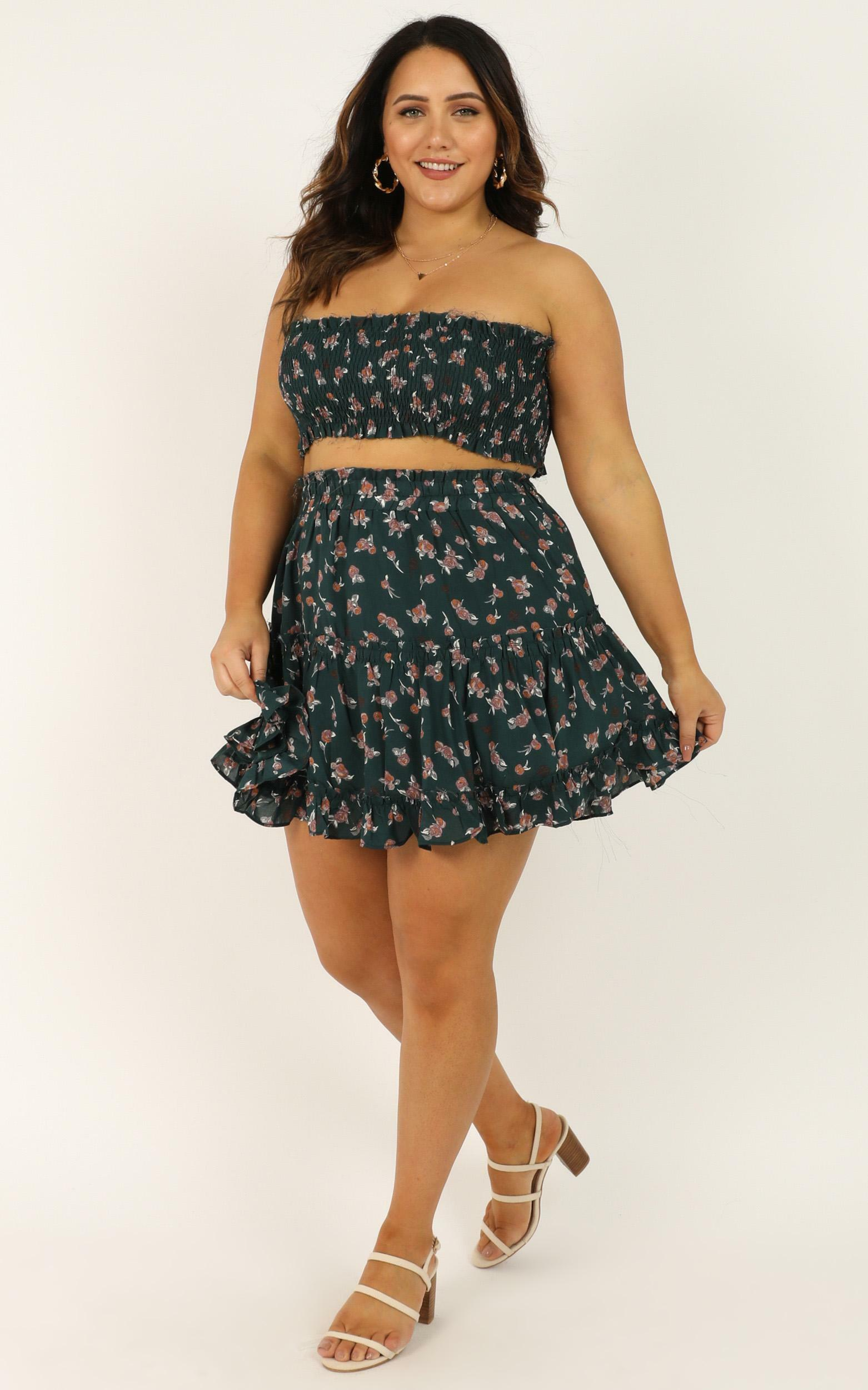 Outside The Line Two Piece Set in emerald floral - 12 (L), Green, hi-res image number null