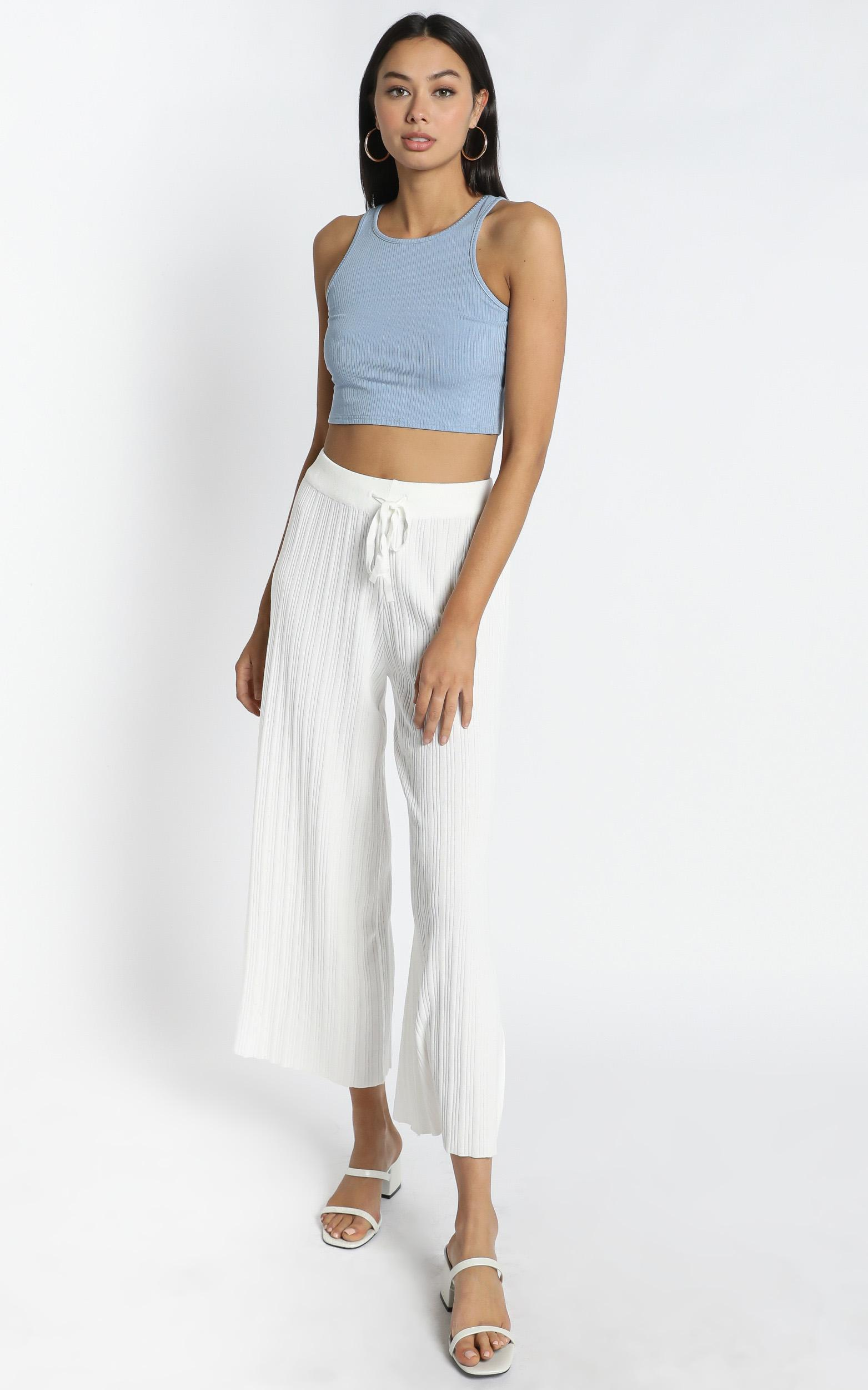 Blair Ribbed Pants in White - L, White, hi-res image number null