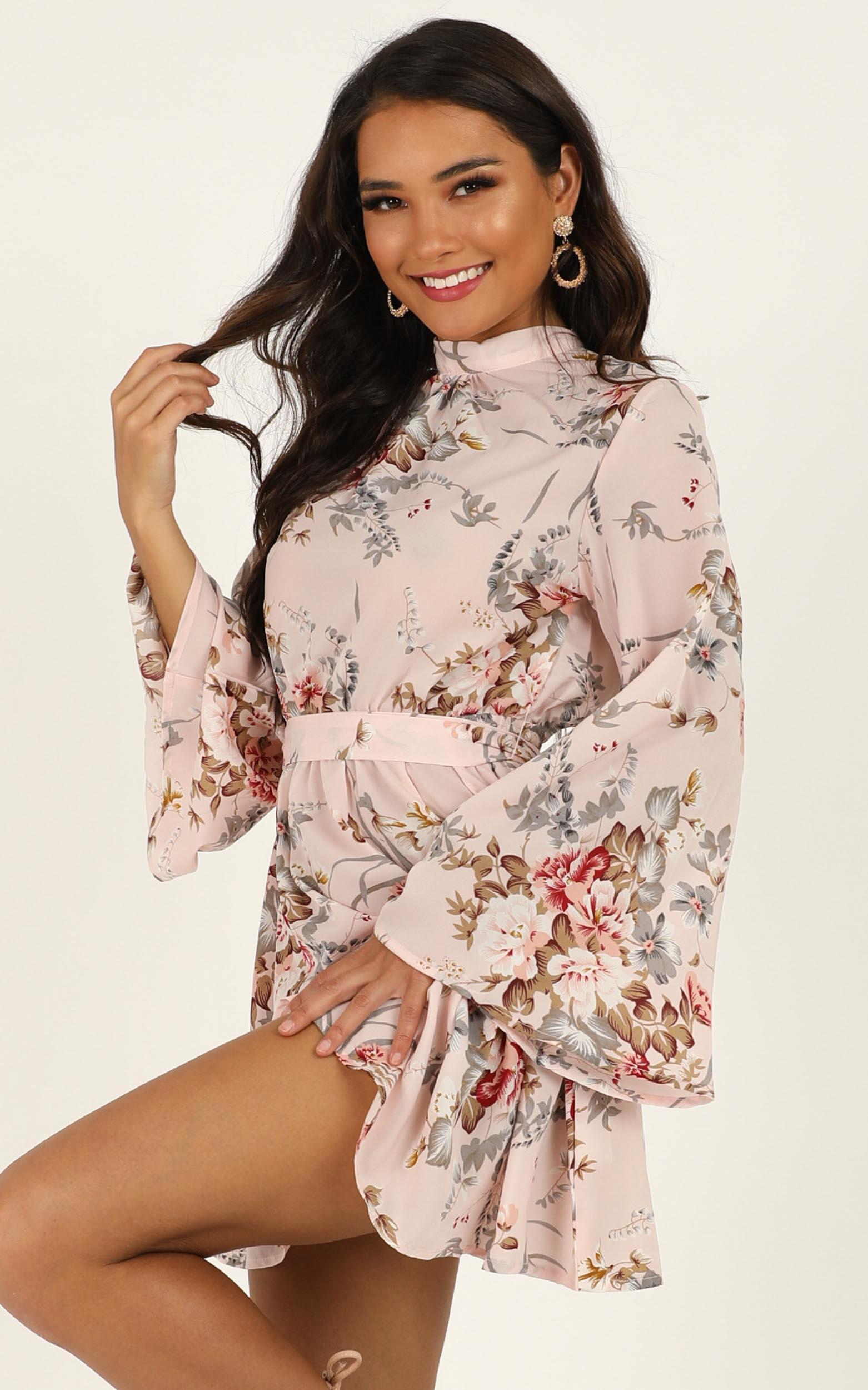 Butterfly Bush dress in blush floral - 14 (XL), Blush, hi-res image number null