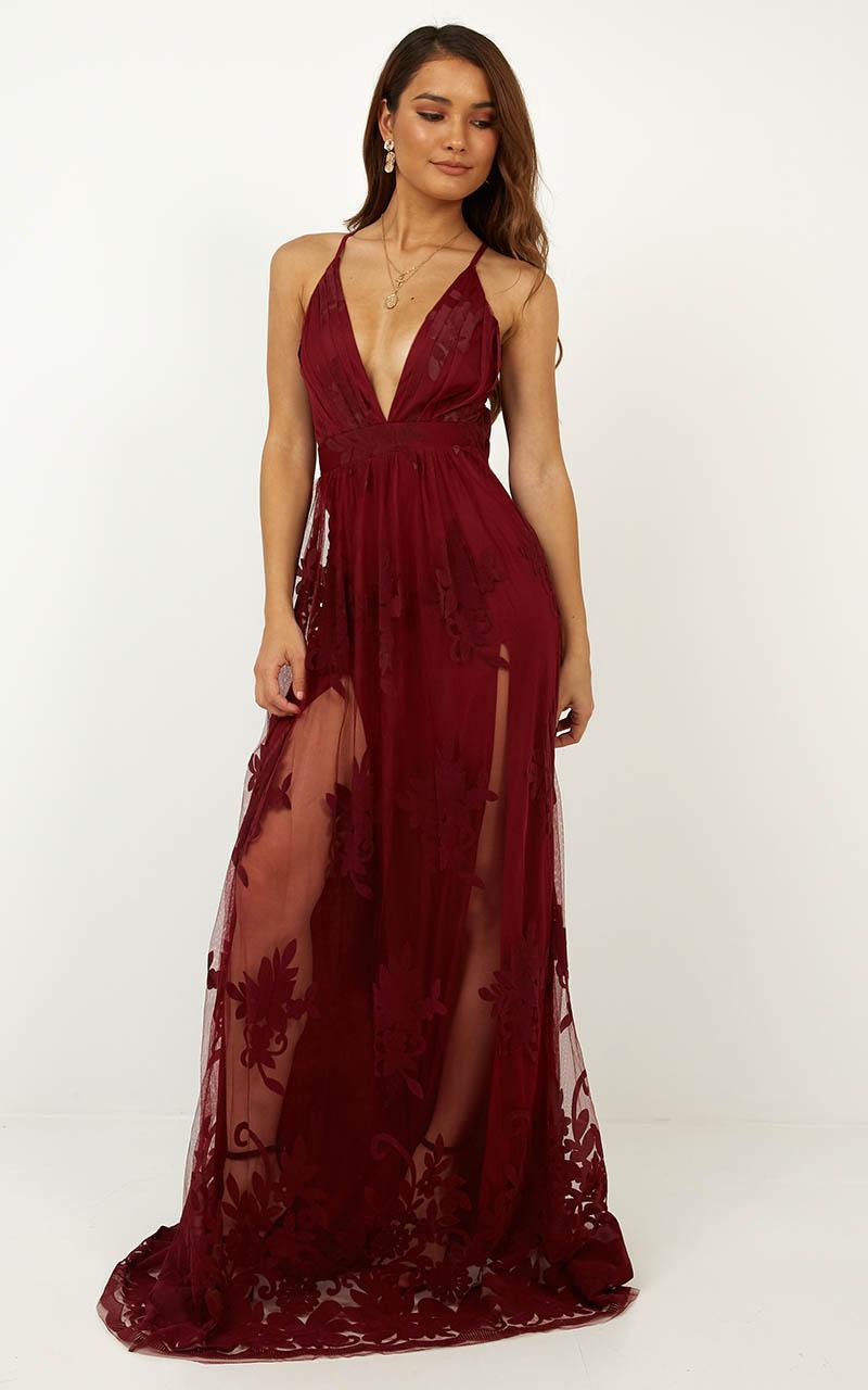 Promenade Maxi Dress In Wine - 16 (XXL), Wine, hi-res image number null