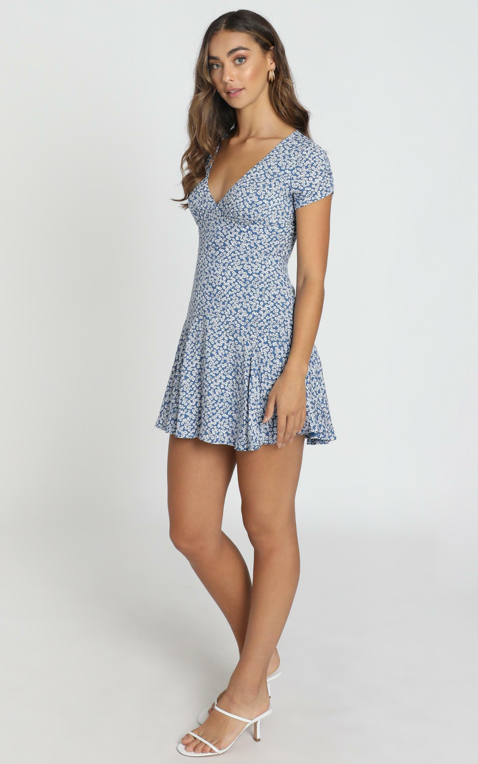 Florida Floral Mini Dress in navy floral - 6 (XS), Navy, hi-res image number null