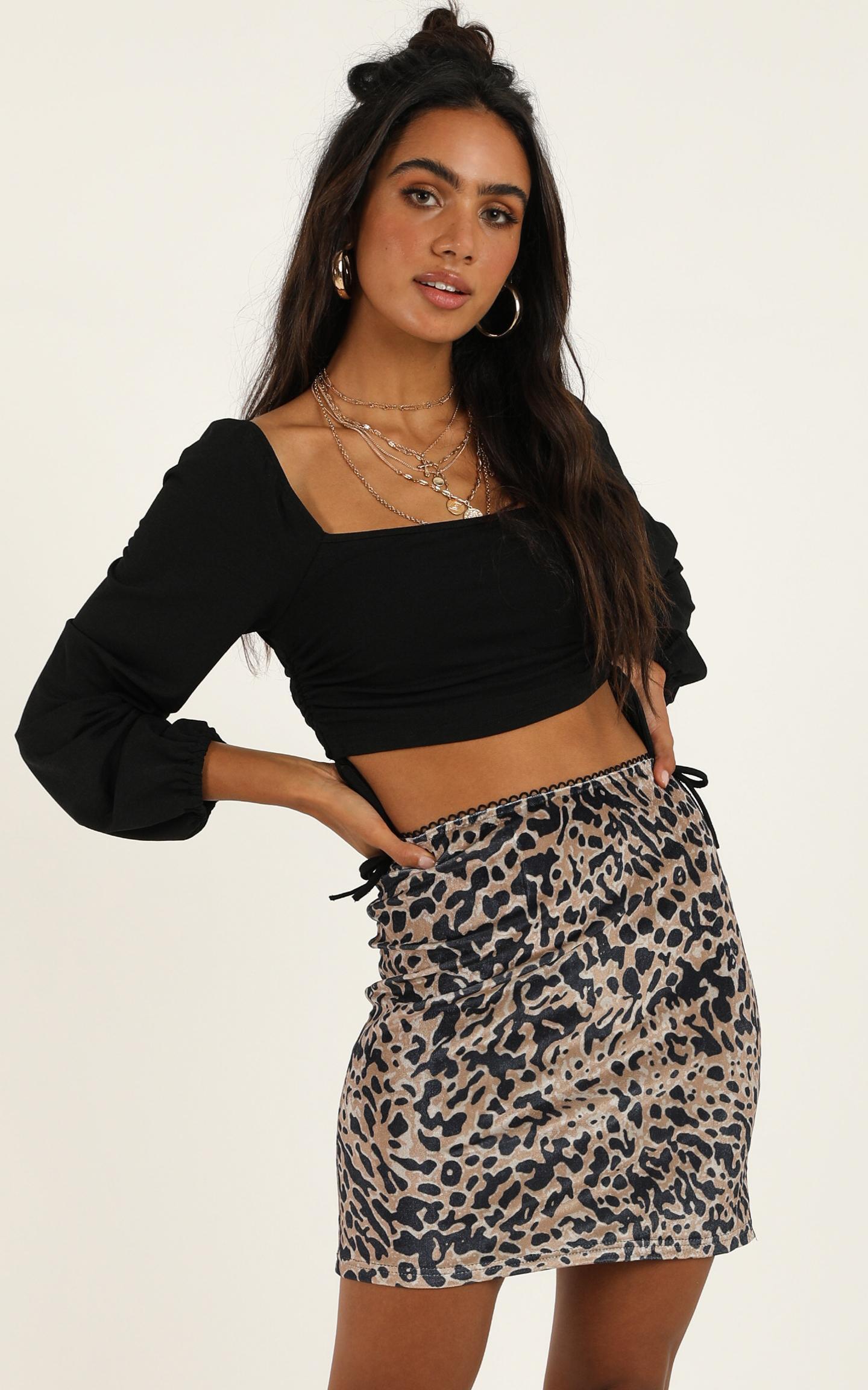Disco Yes skirt in leopard print velvet - 6 (XS), Brown, hi-res image number null