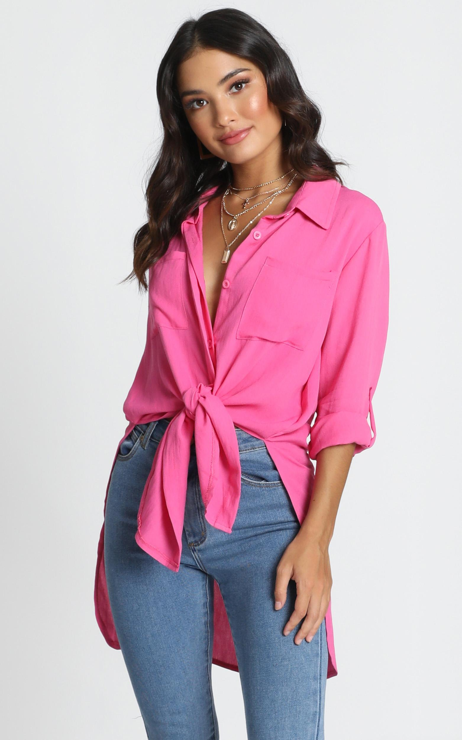 Trish Button Up Shirt in hot pink - 14 (XL), Pink, hi-res image number null