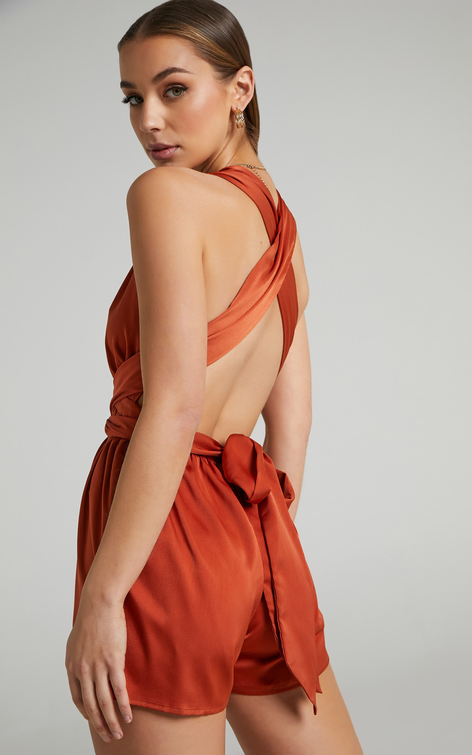 Clay Multi Tie Playsuit in Copper - 06, GLD2, hi-res image number null