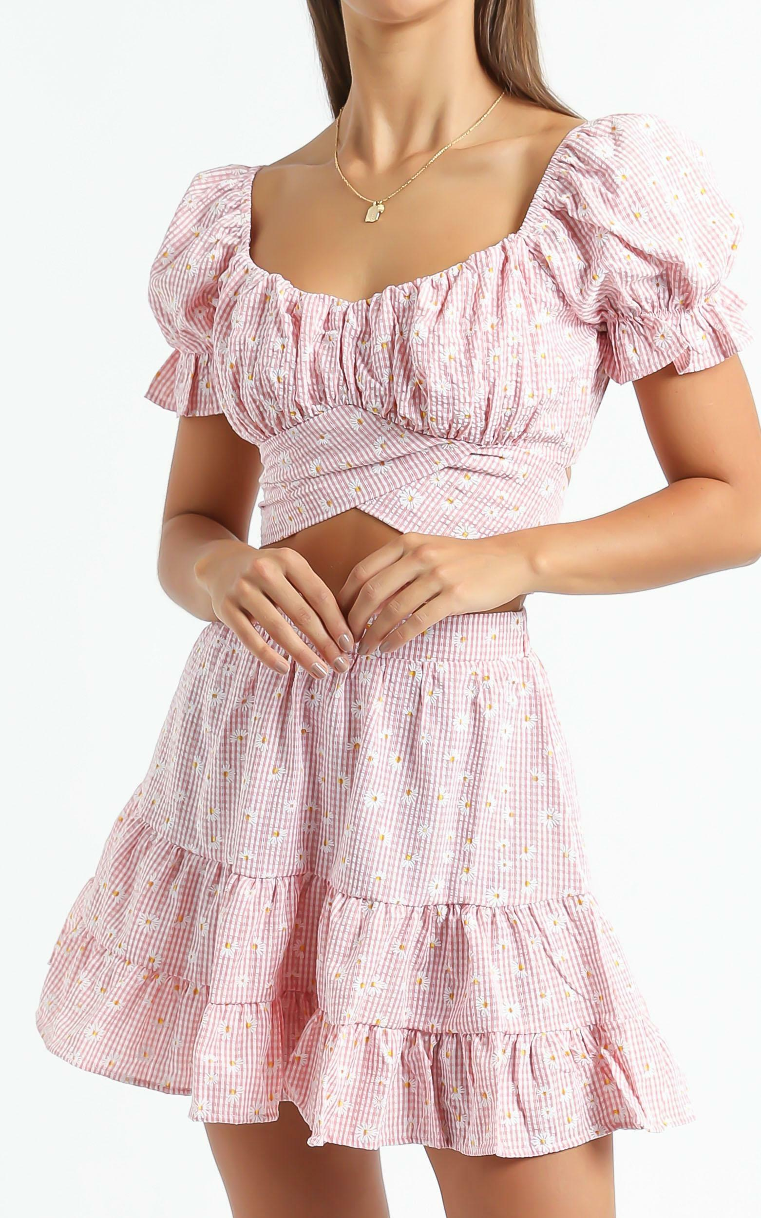Polly Two Piece Set In Red Gingham - 6 (XS), PNK4, hi-res image number null
