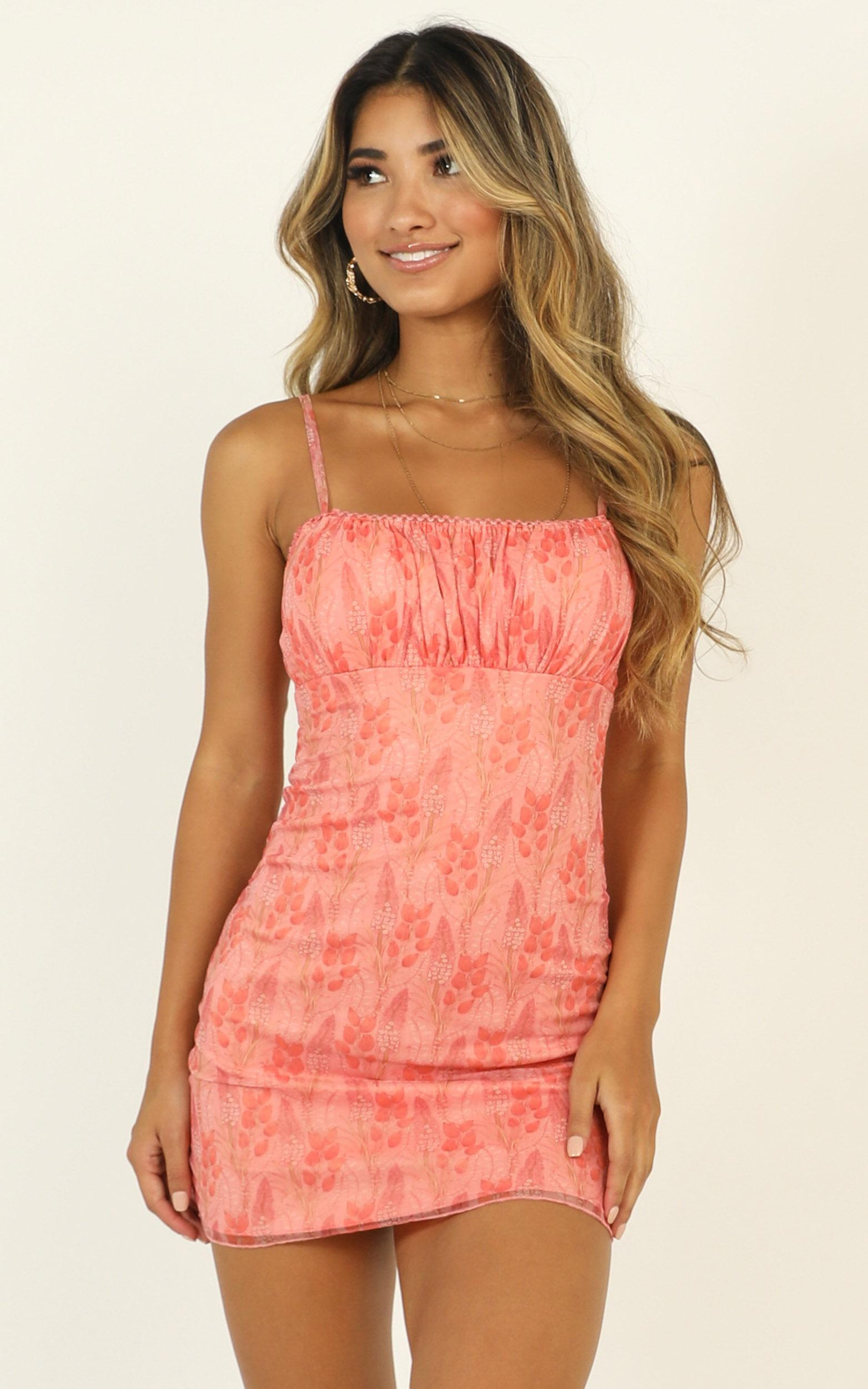 Walls Caving In dress in peach print - 16 (XXL), Pink, hi-res image number null