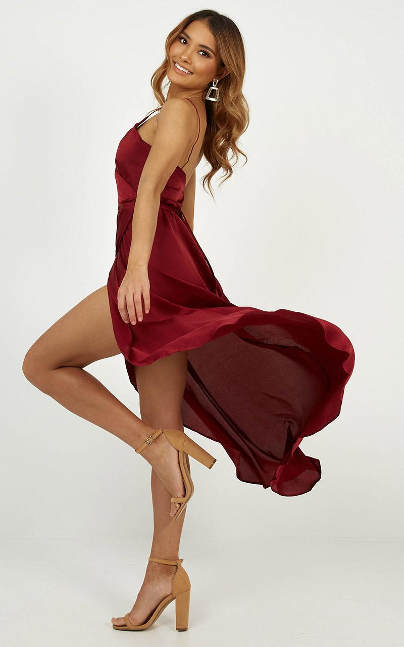 The Countess Dress In Wine Satin - 6 (XS), Wine, hi-res image number null