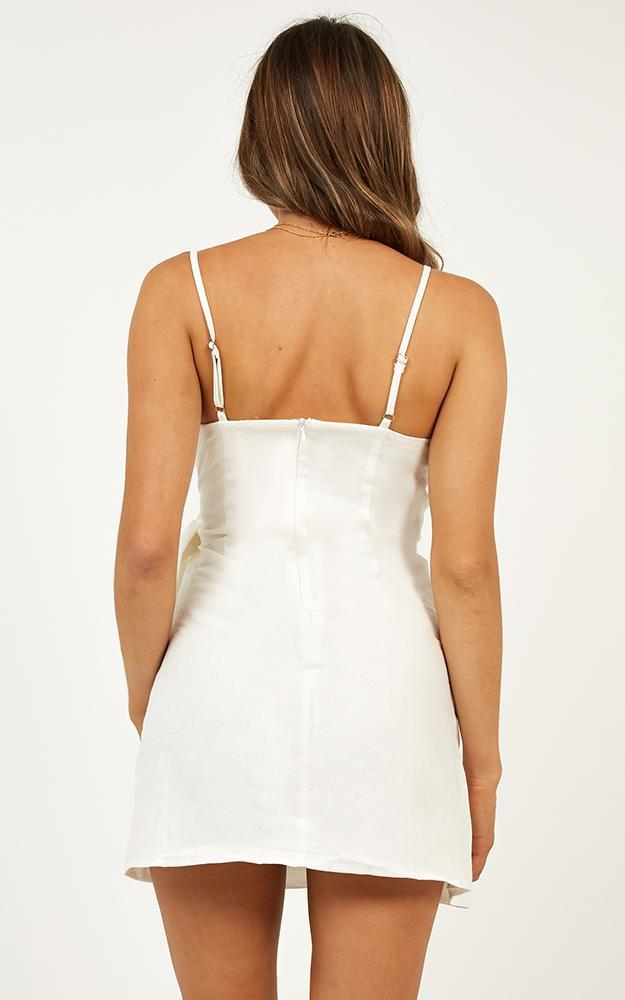 Letting Down Easy Dress In White Linen Look - 4 (XXS), White, hi-res image number null