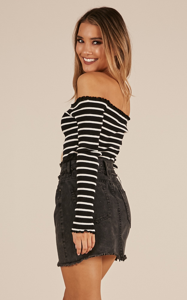 All I See knit top in black and white - 12 (L), Black, hi-res image number null