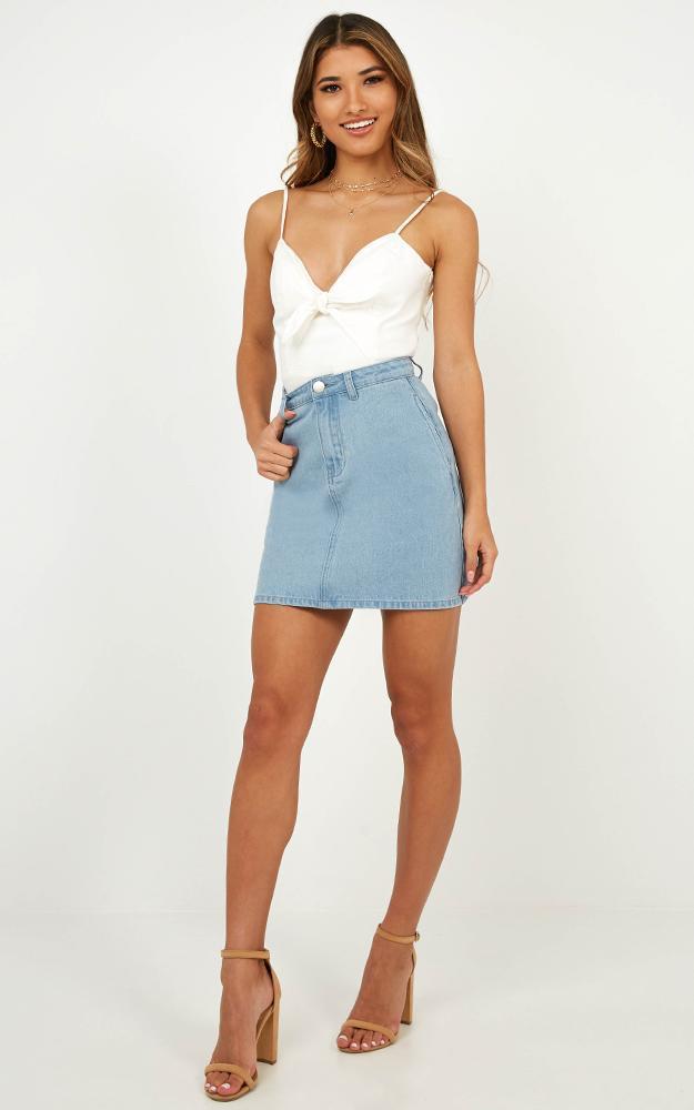Harmonic Love Skirt in Blue Denim - 14 (XL), Blue, hi-res image number null