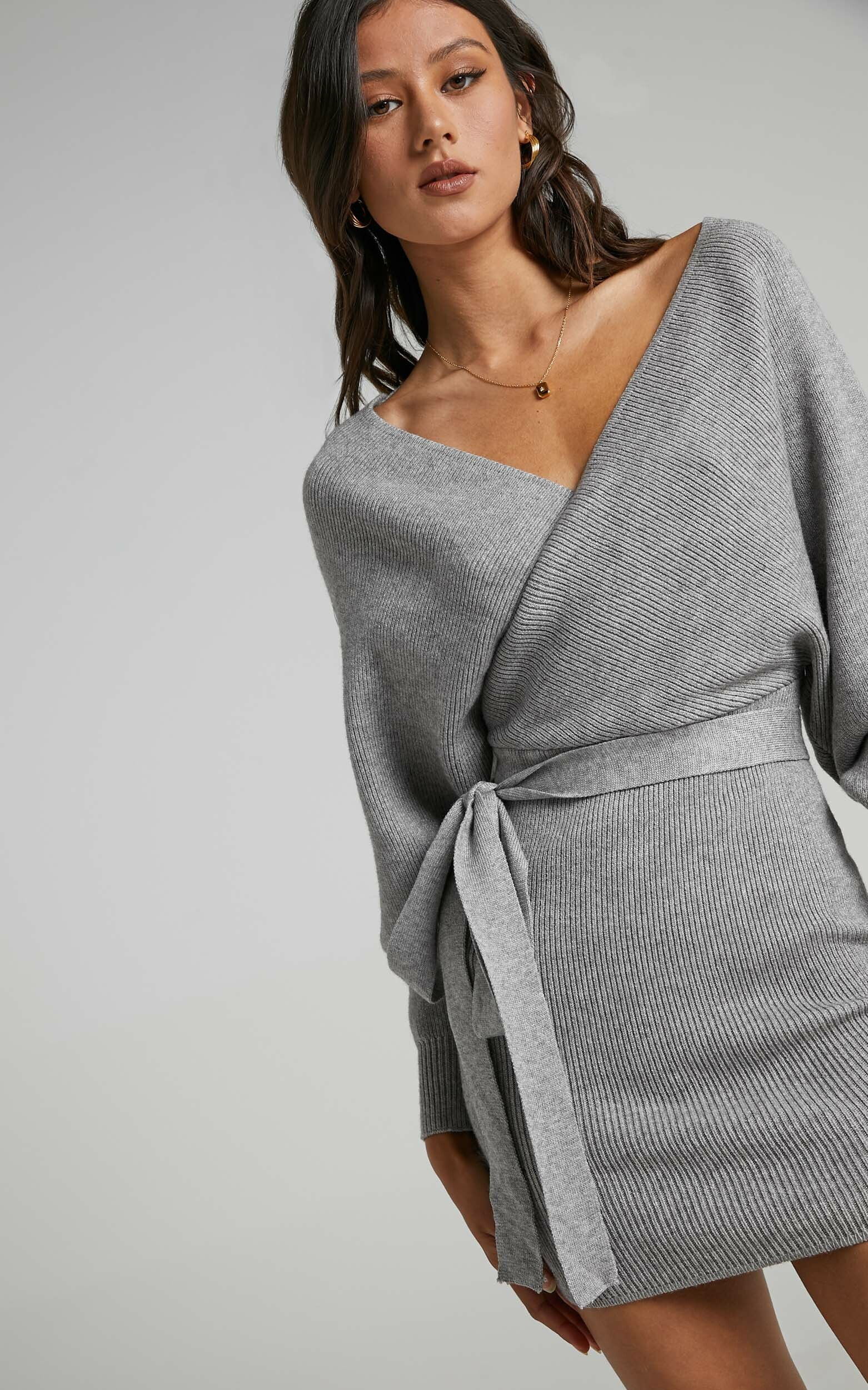 Dont Fall Down Knit Dress in Grey - 06, GRY2, hi-res image number null